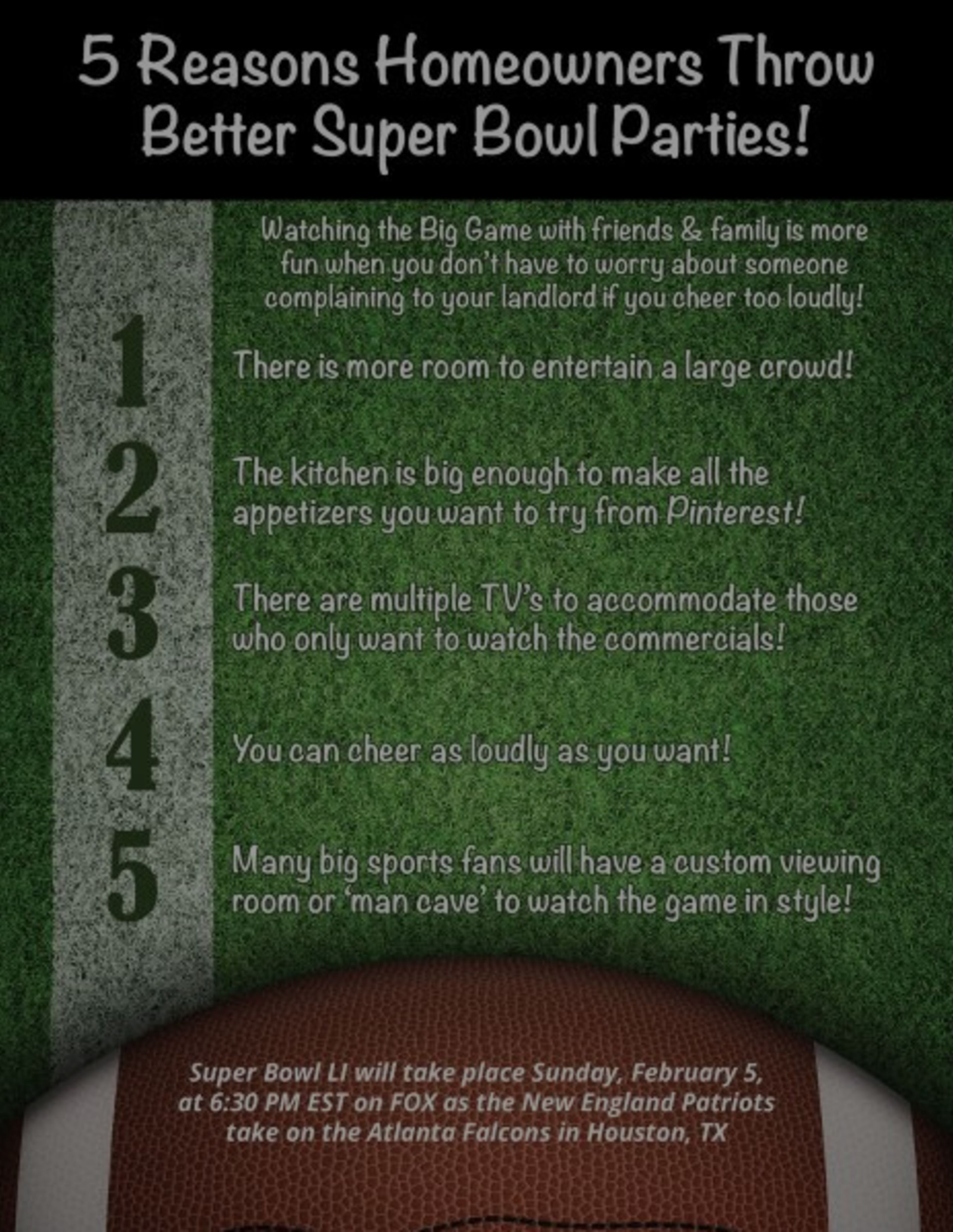 5 Reasons Homeowners Throw Better Superbowl Parties!