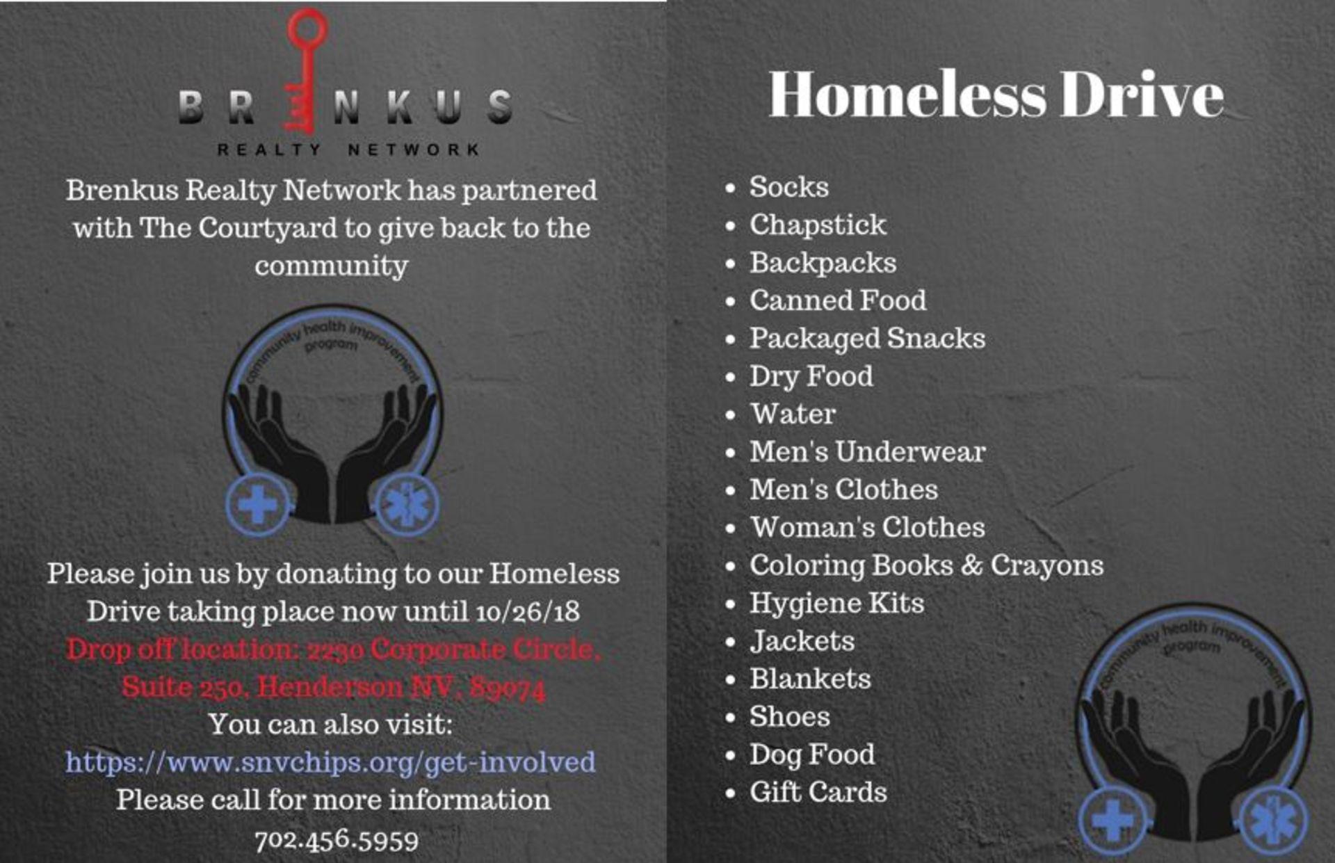 Brenkus Realty Network's Homeless Drive