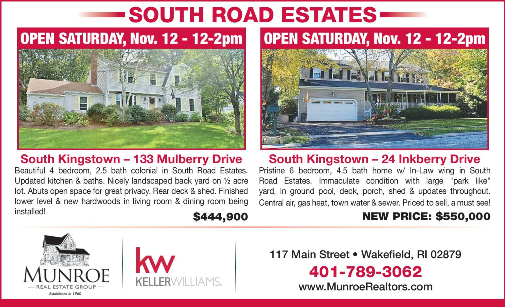 2 Homes Open This Saturday in South Road Estates!