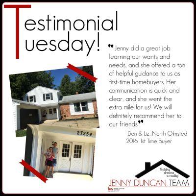 Tuesday Testimonial – Ben & Liz (North Olmsted)