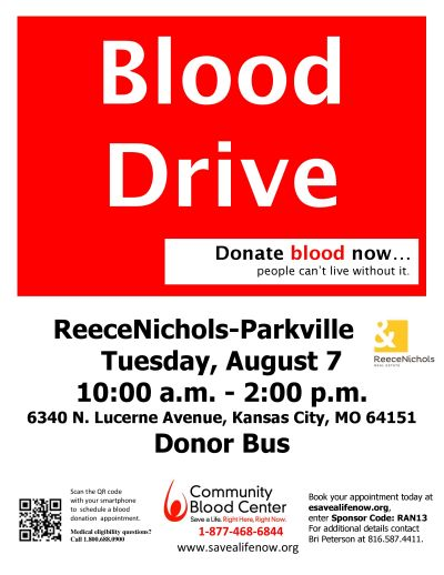 Blood Drive on August 7th