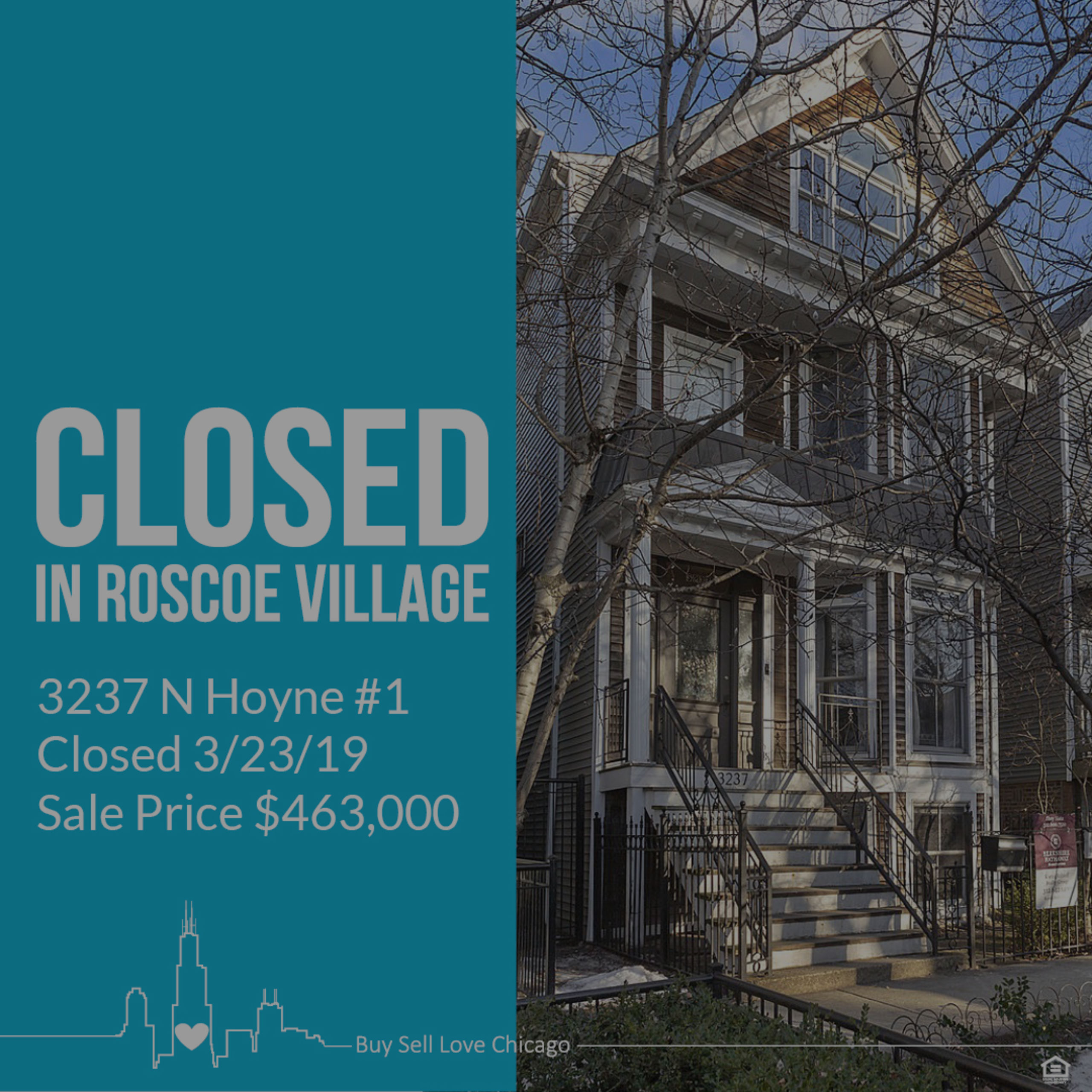 JUST SOLD: 3237 N Hoyne Ave Unit 1, Chicago, IL 60618