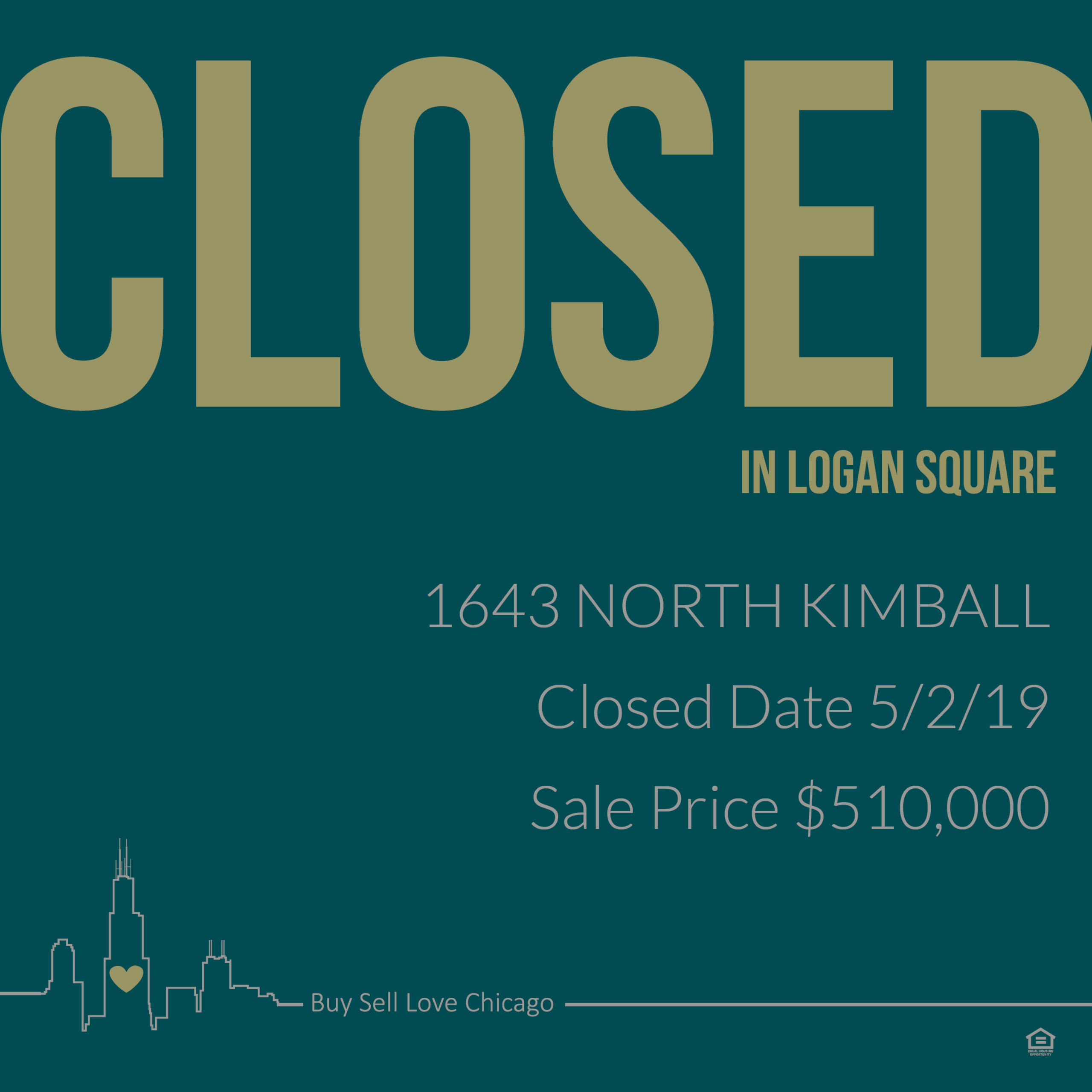 Just Sold:  1643 N. Kimball Chicago, Il 60647