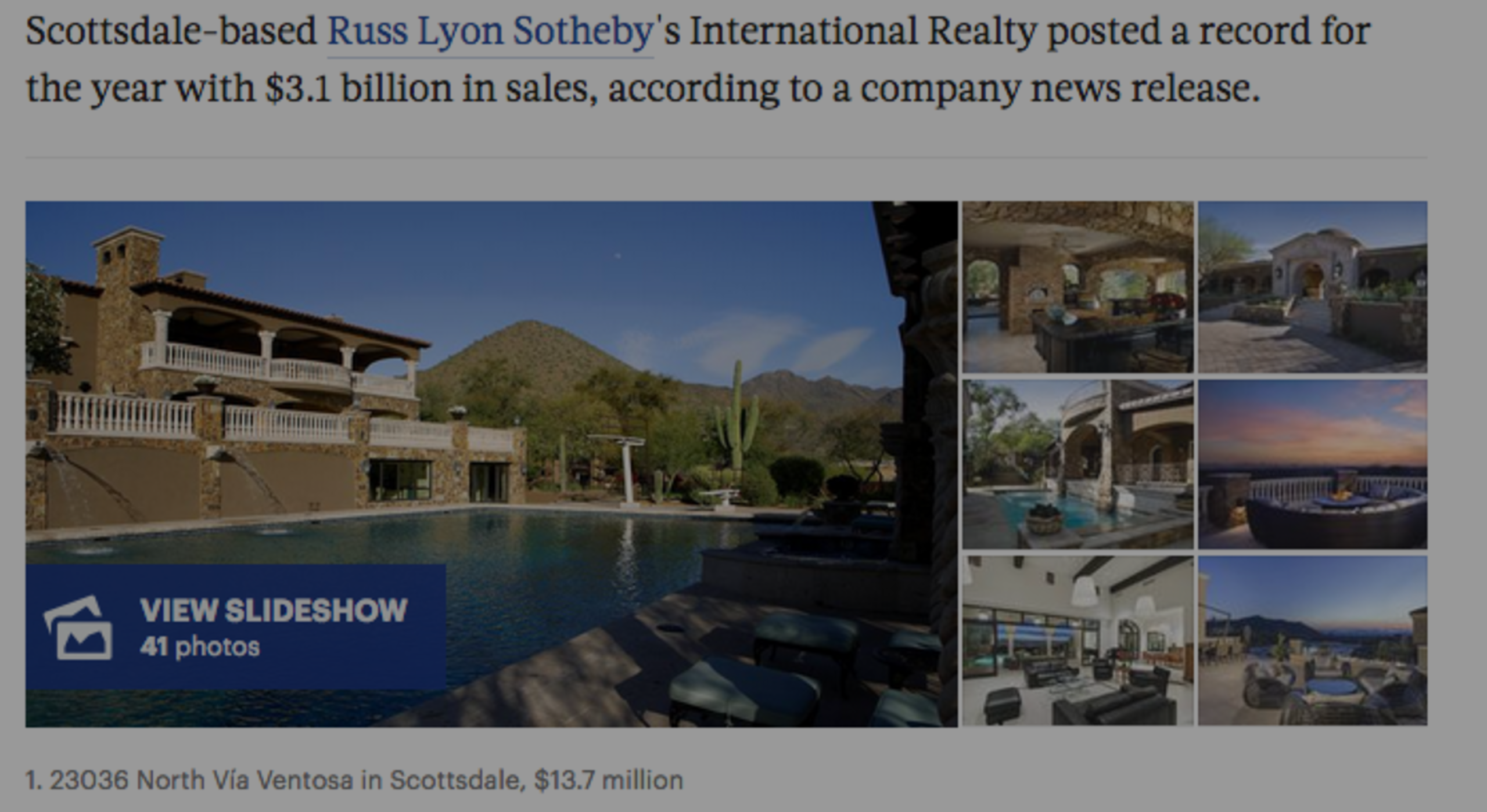 Scottsdale Based Russ Lyon Sothebys Posted record 16 sales for 2016