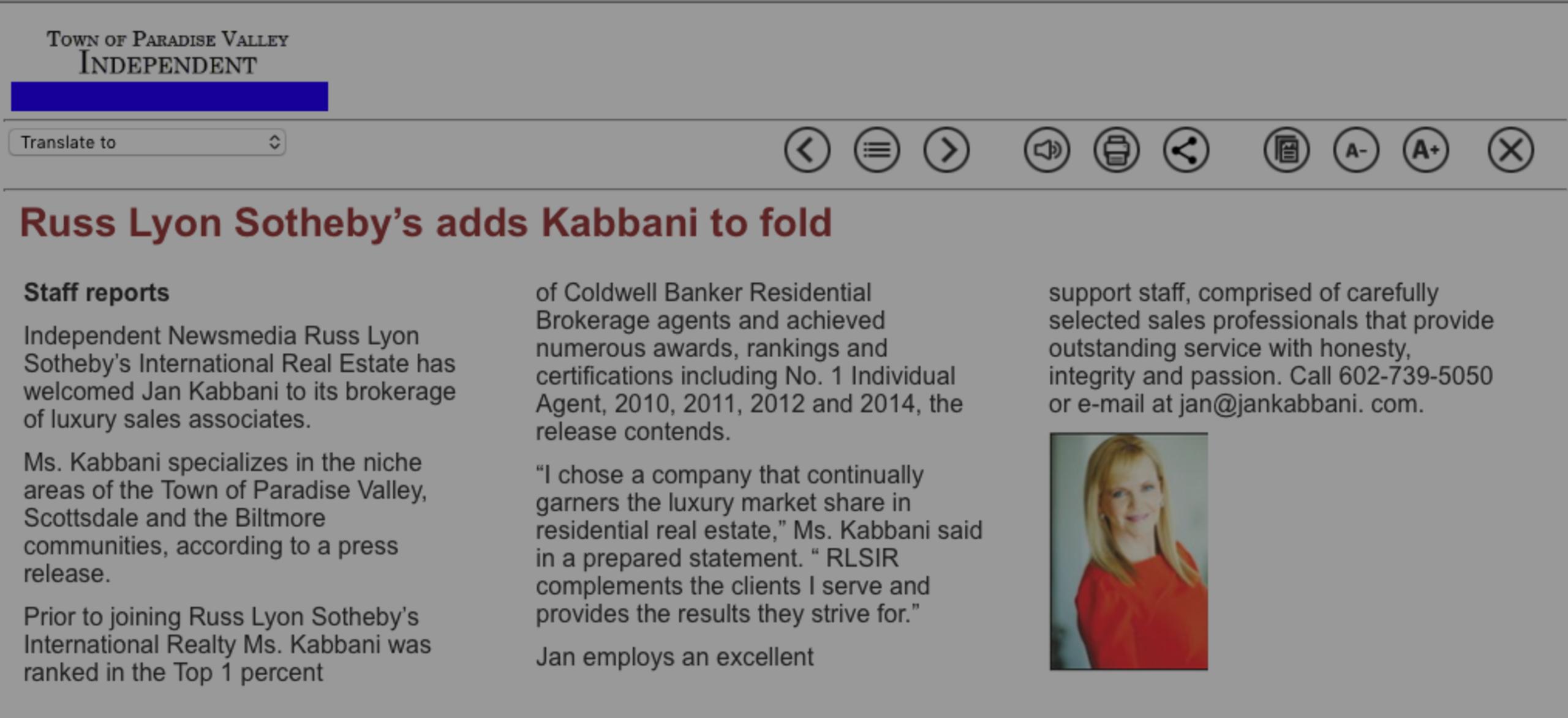 Russ Lyon Sotheby's Adds Kabbani To Fold