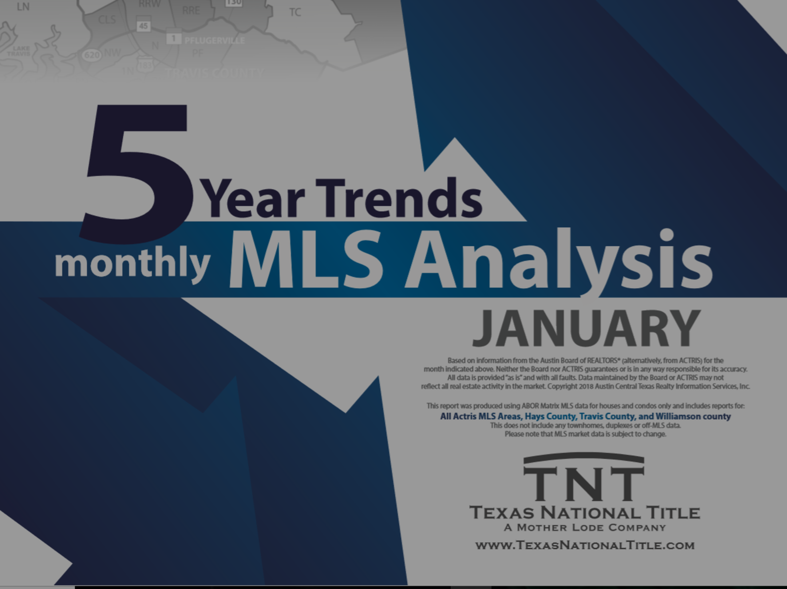 5 Year Monthly MLS Sales Trend Travis, Williamson & Hays Counties