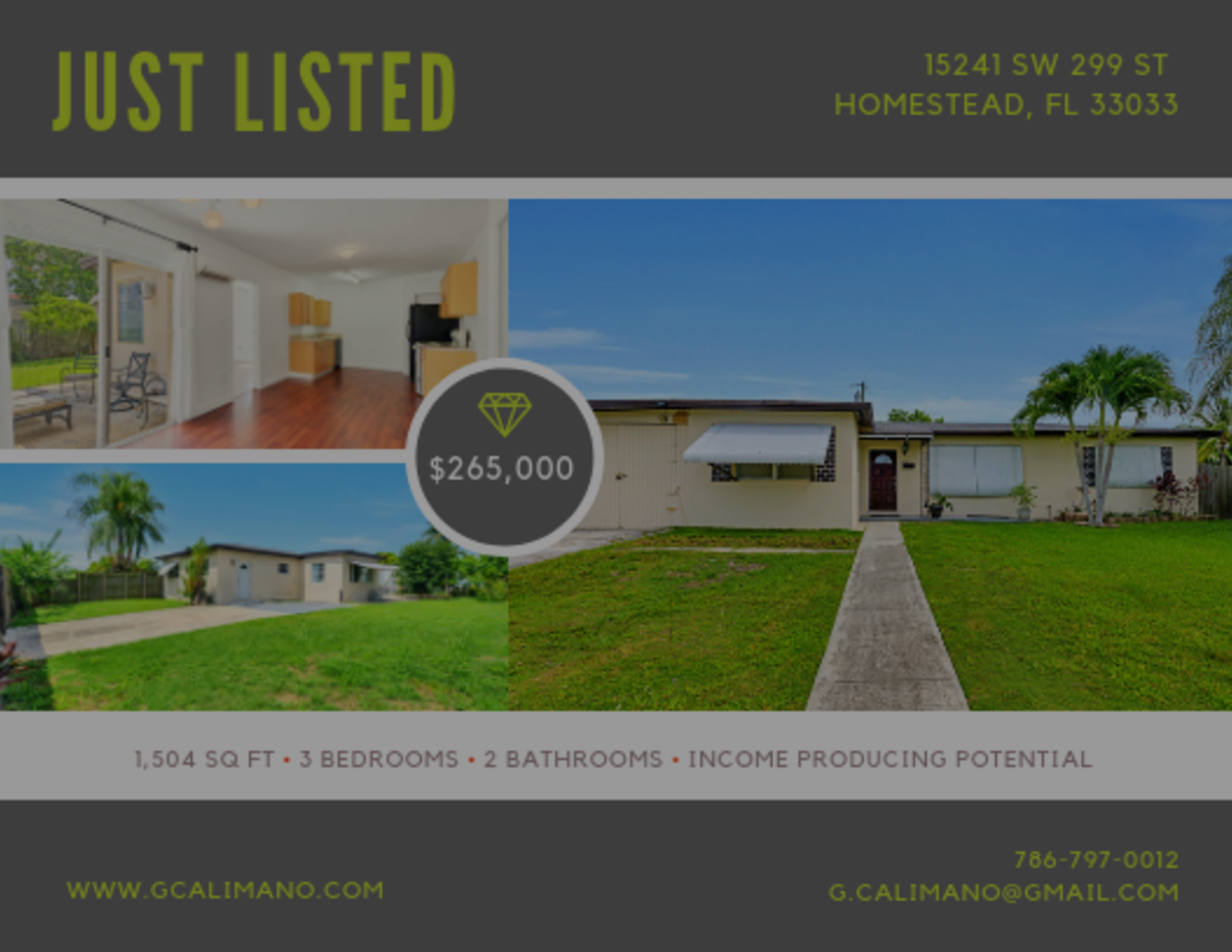 Corner lot home in Homestead with income potential!