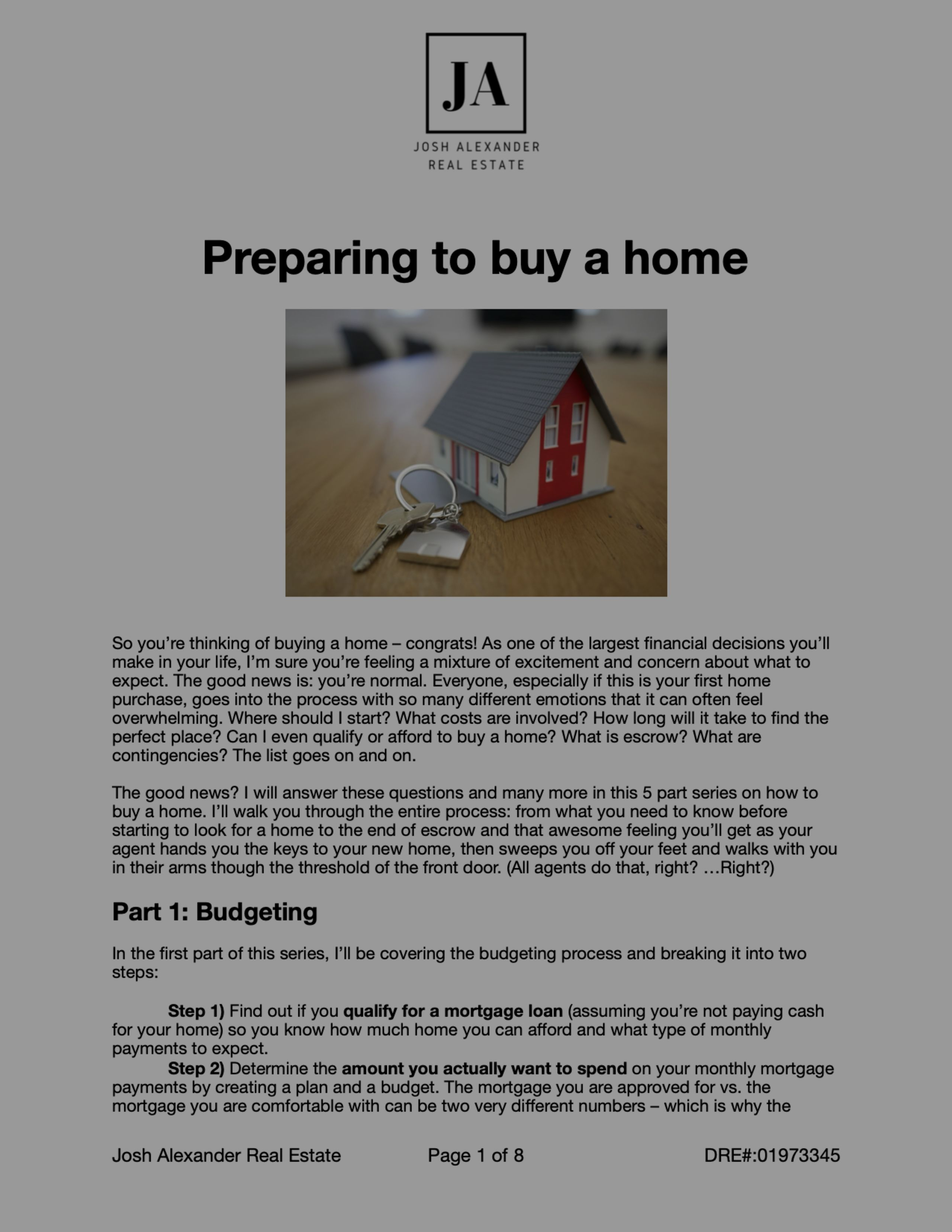 Preparing to Buy a Home – Budgeting