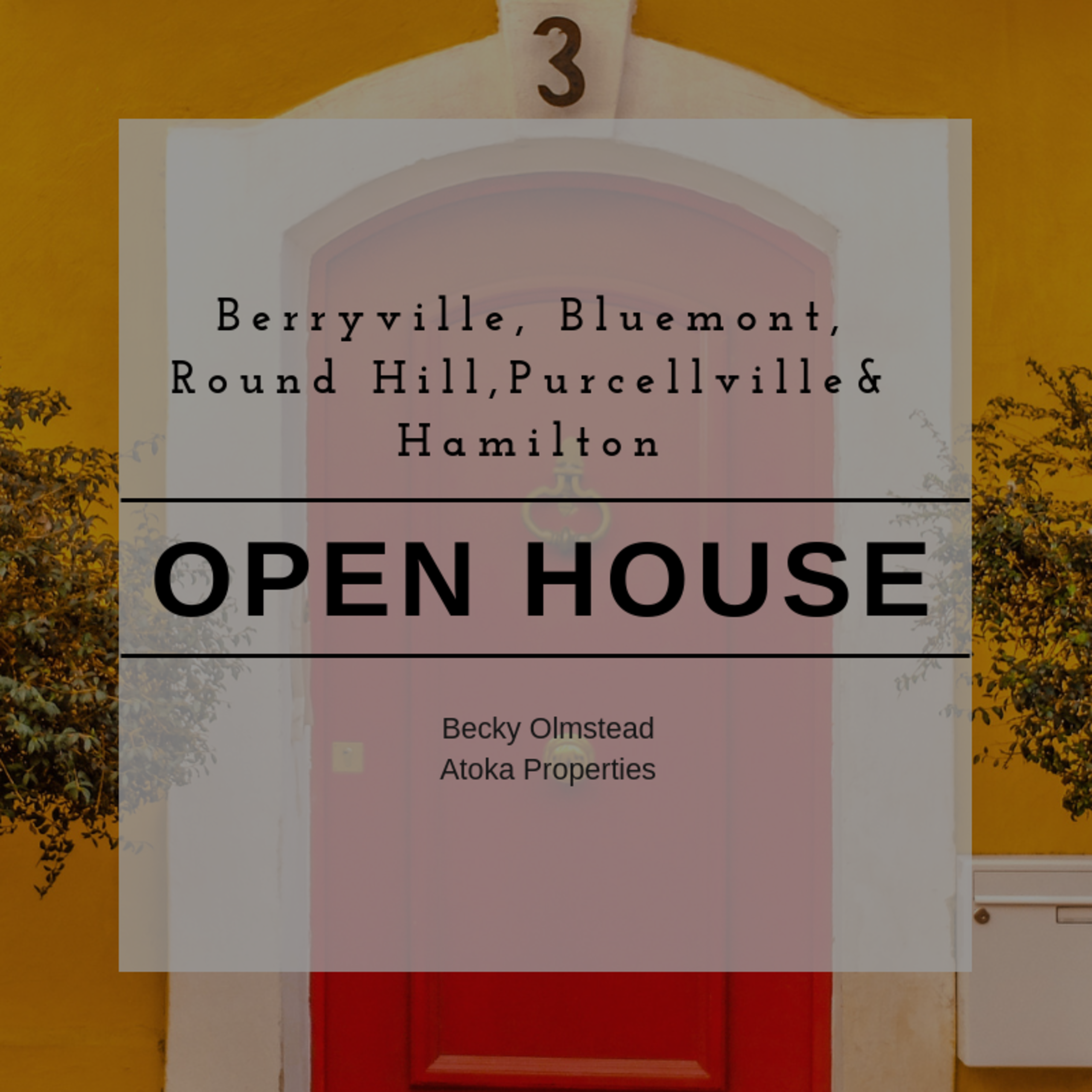 OPEN HOUSE LIST 9/29/18 – 9/30/18