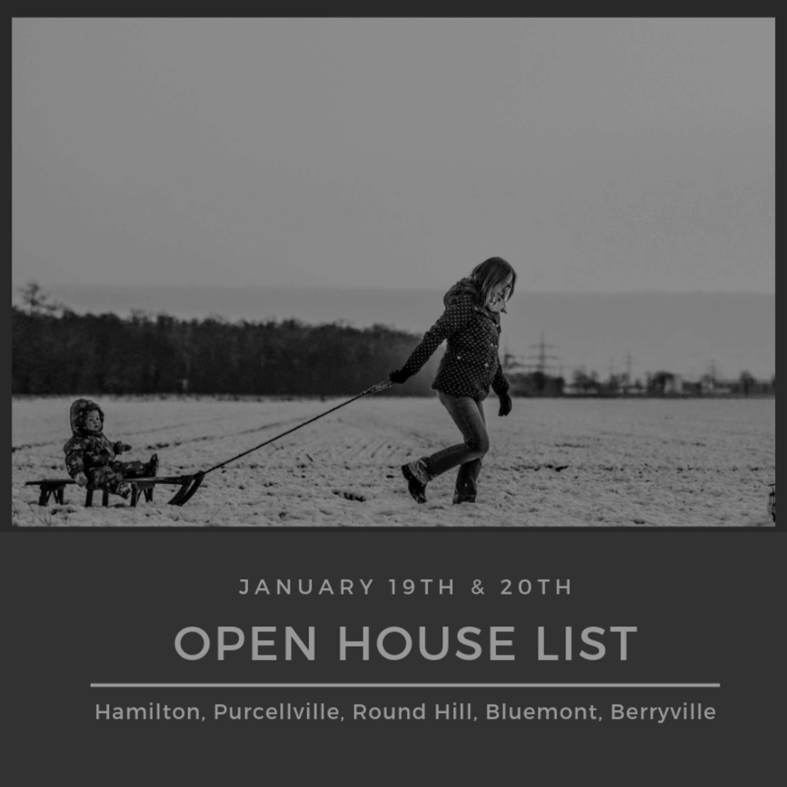 Open House List 1/19/19 – 1/20/19