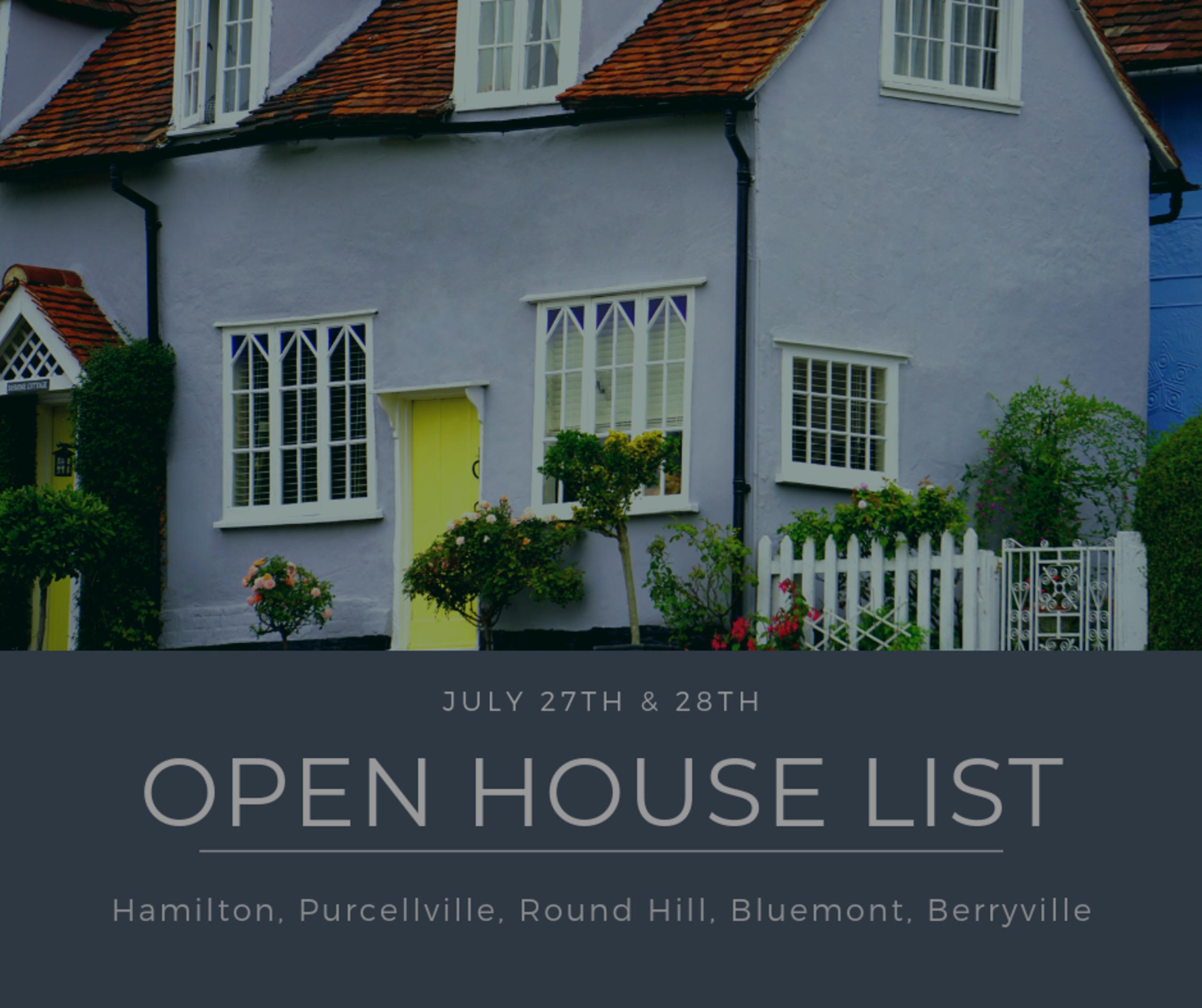 Open House List 7/27/19 – 7/28/19