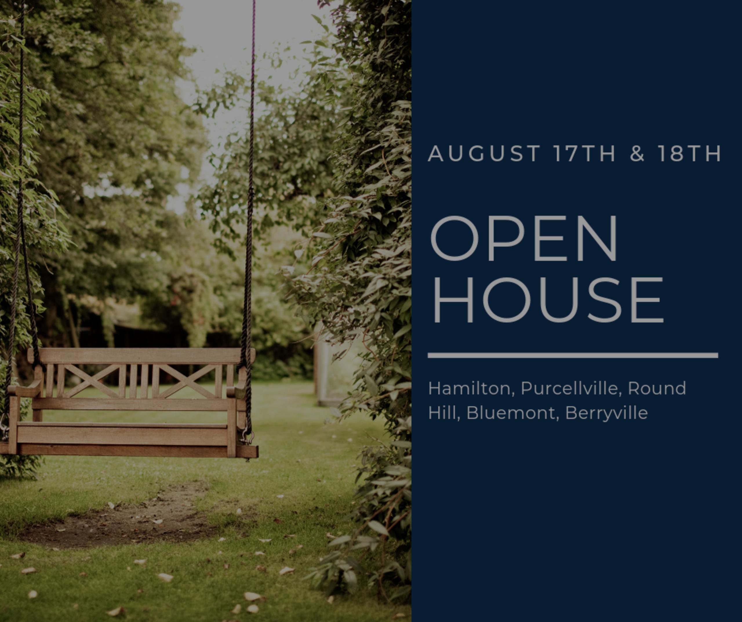 Open House List 8/17/19 – 8/18/19
