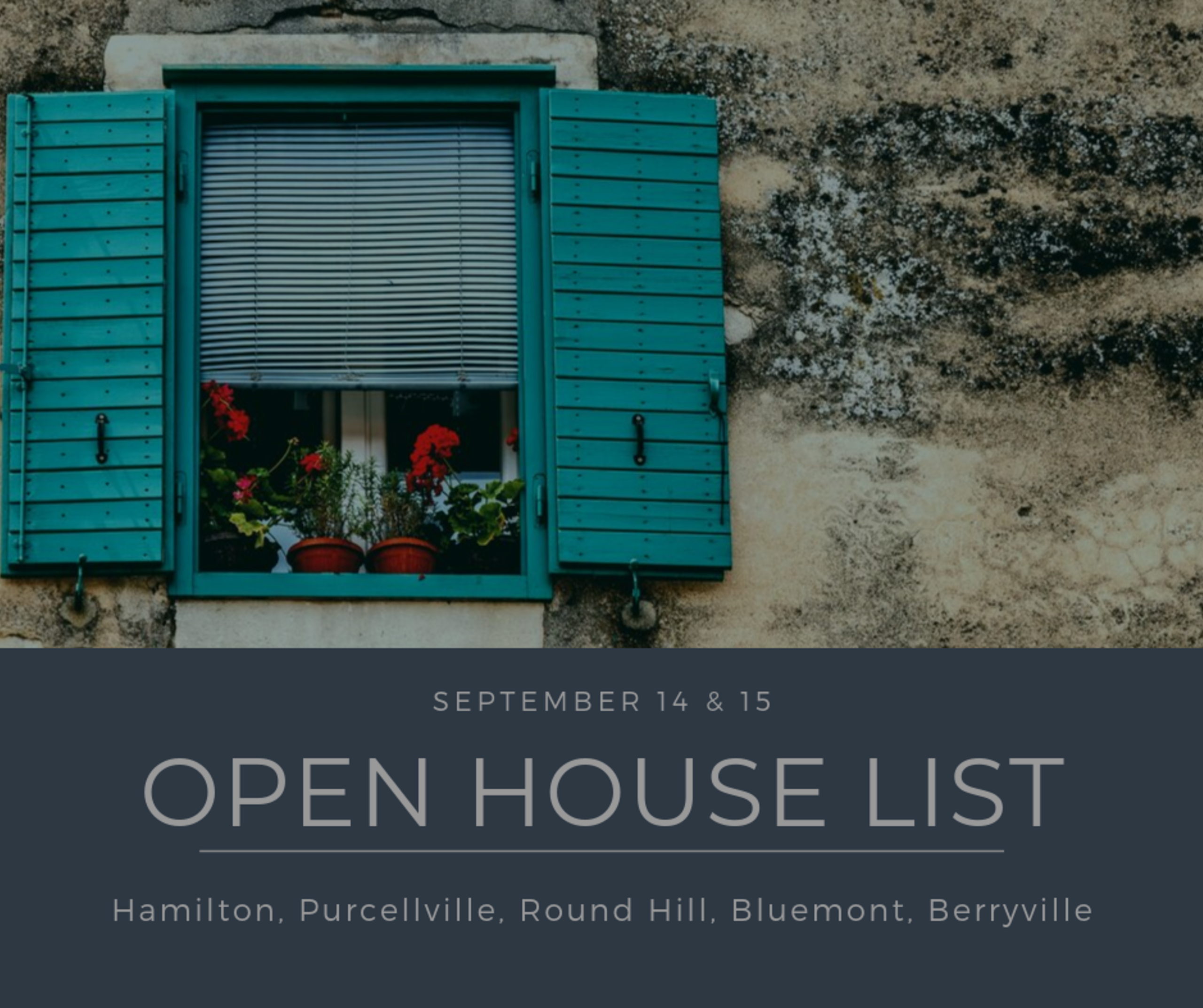 Open House List 9/14/19 – 9/15/19
