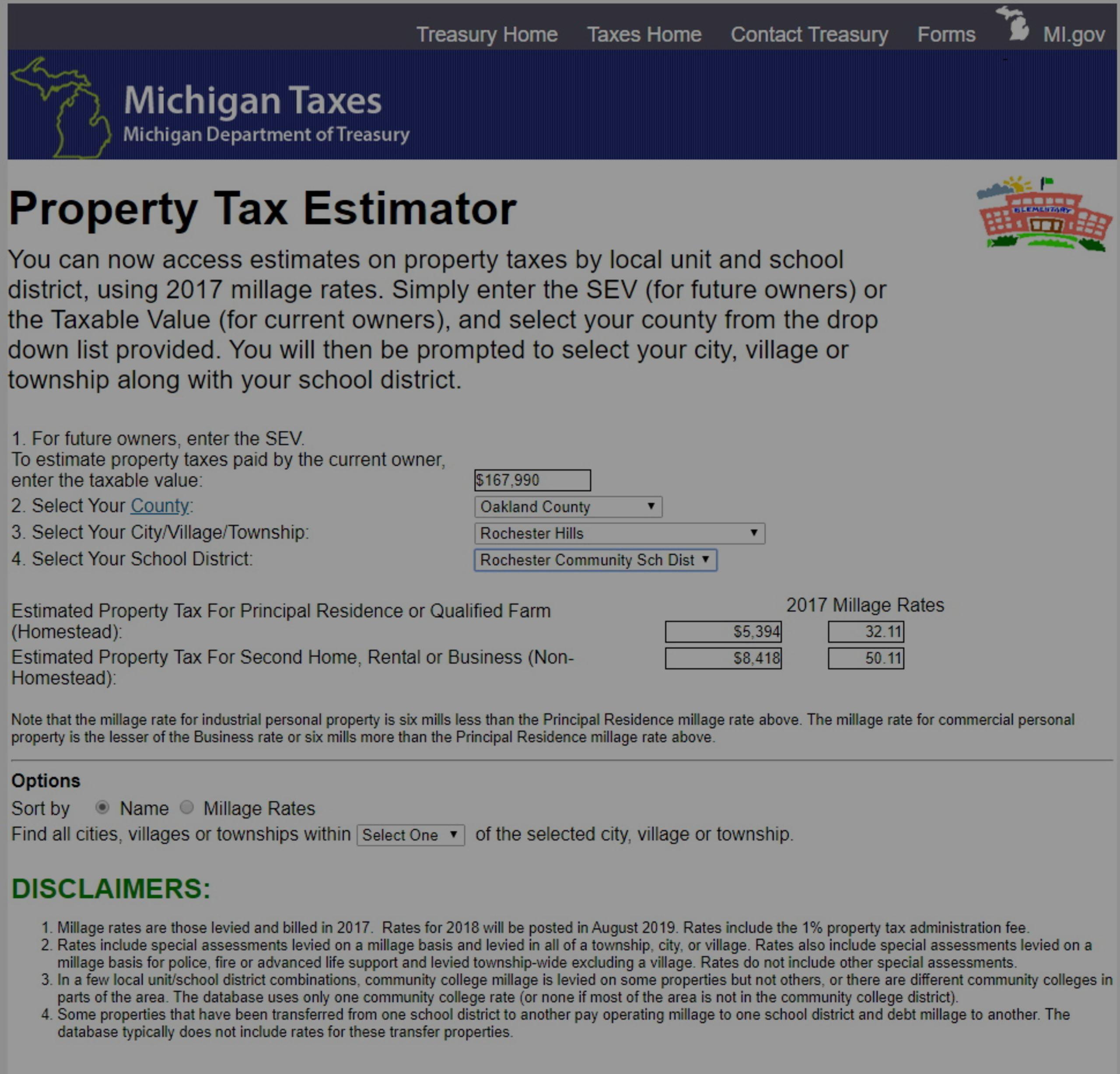 Michigan Property Tax Estimator