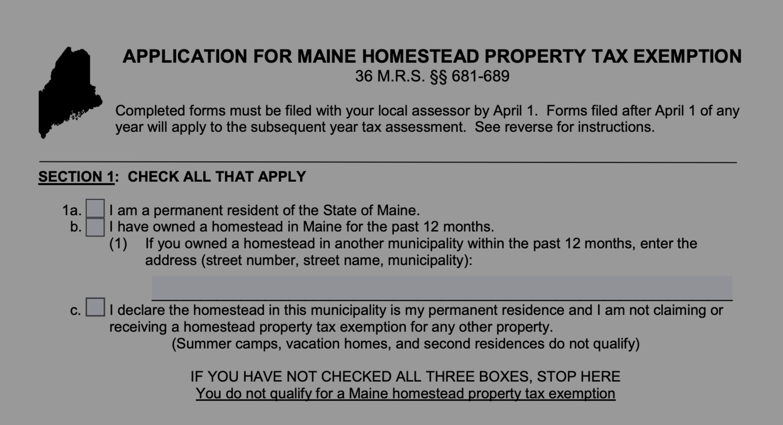 Maine Homestead Property Tax Exemption