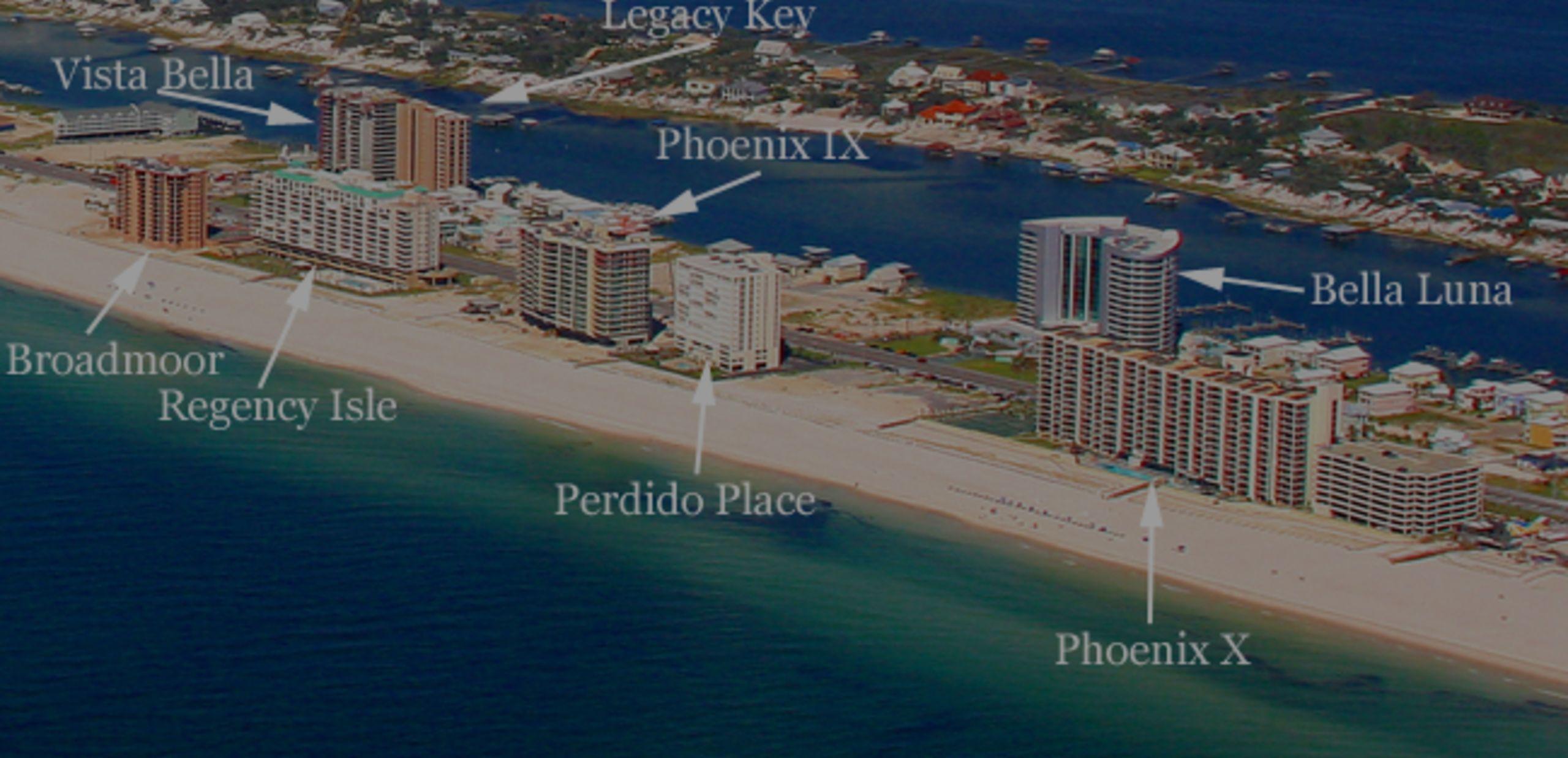 Aerial Condo Map of Orange Beach