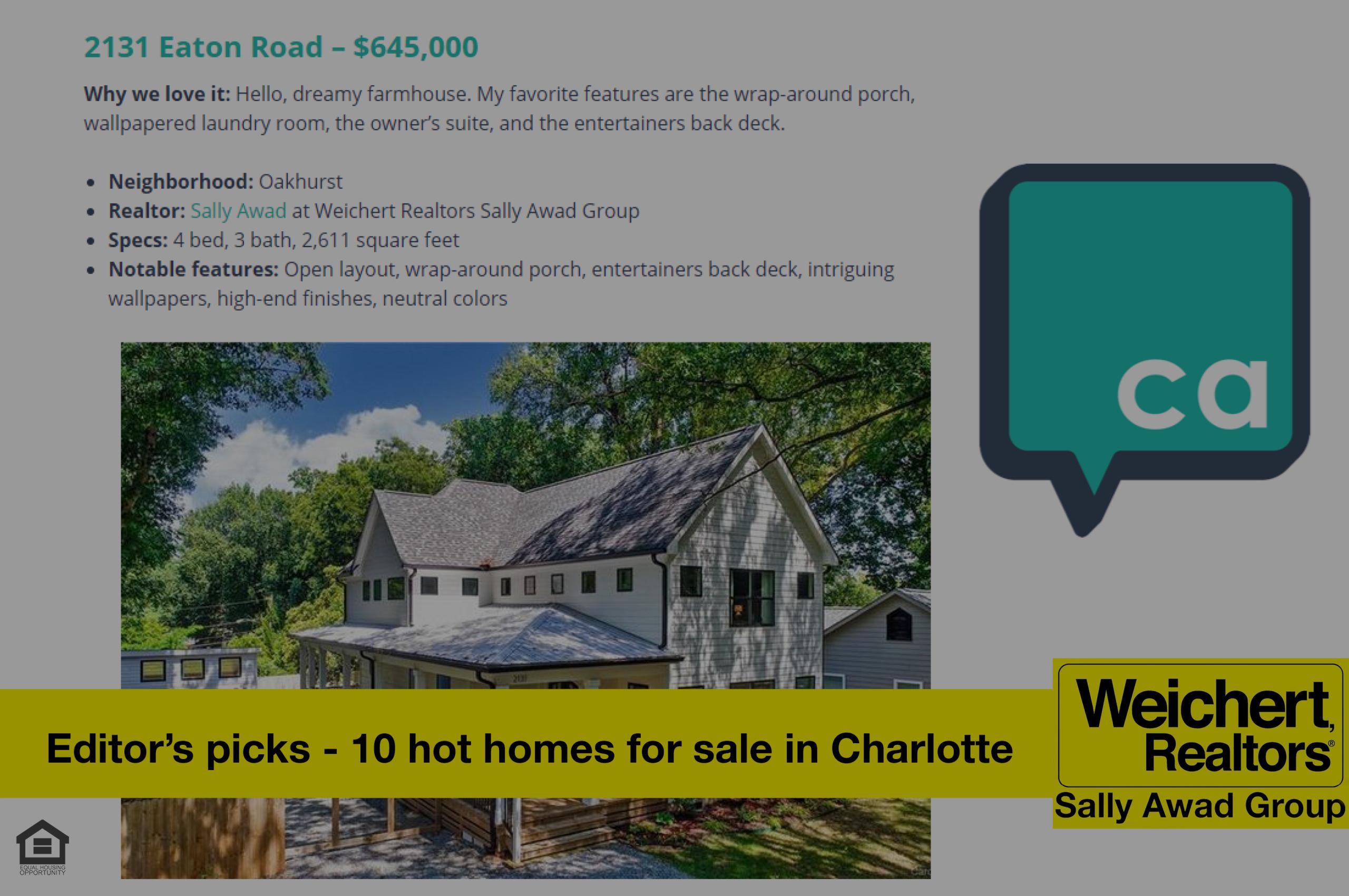 Listing Named on Charlotte Agenda's Editor's picks: 10 hot homes for sale in Charlotte right now
