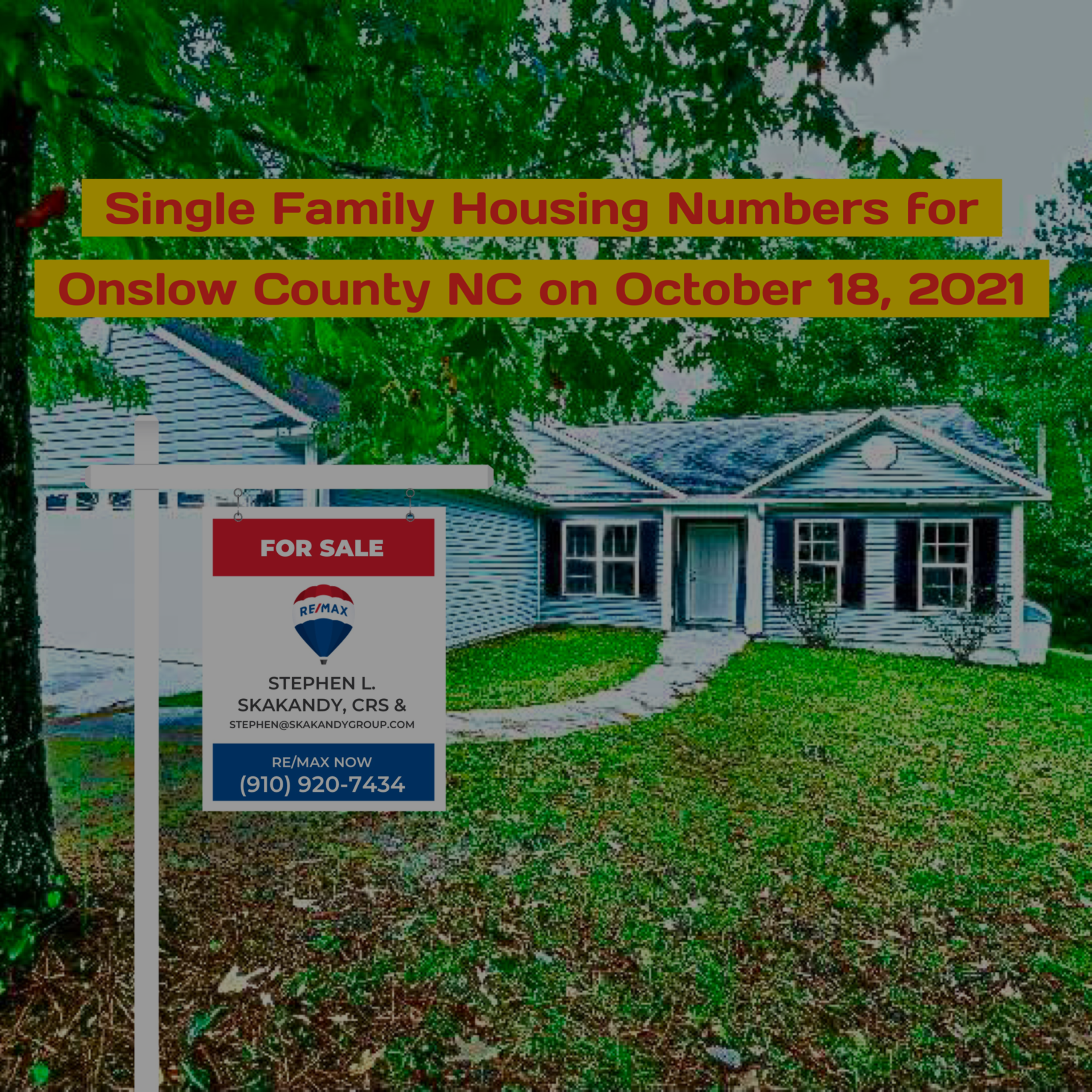 Single Family Housing Numbers for Onslow County NC on October 18, 2021