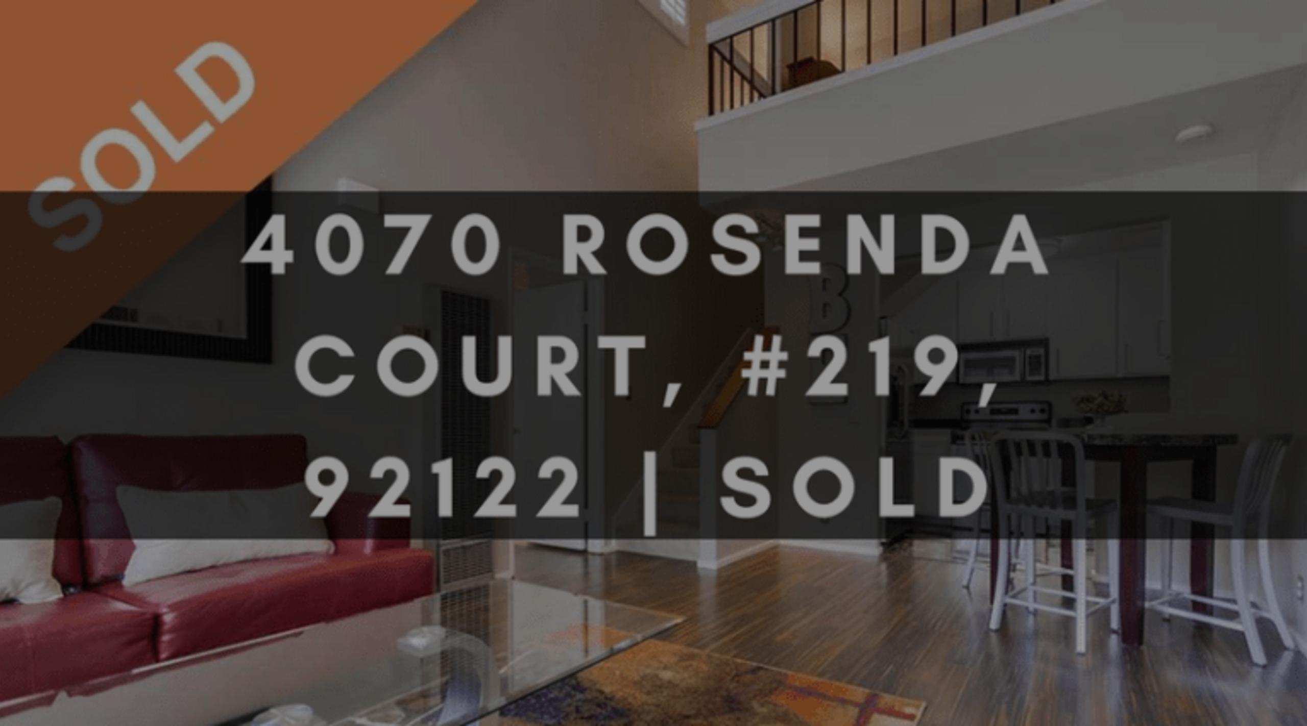 4070 ROSENDA COURT, #219, 92122 | SOLD