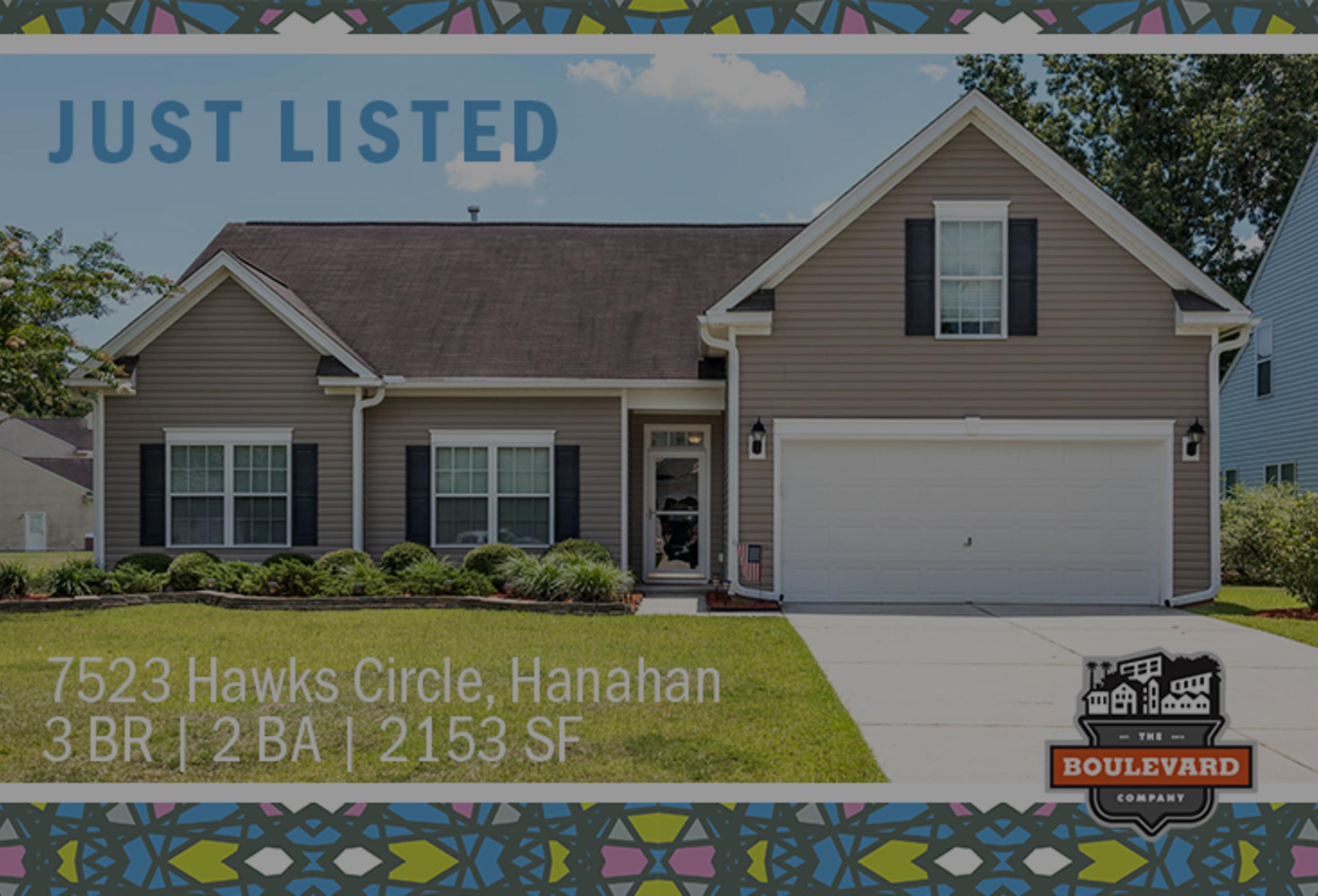 new listing: 7523 Hawks Circle in Hanahan, SC