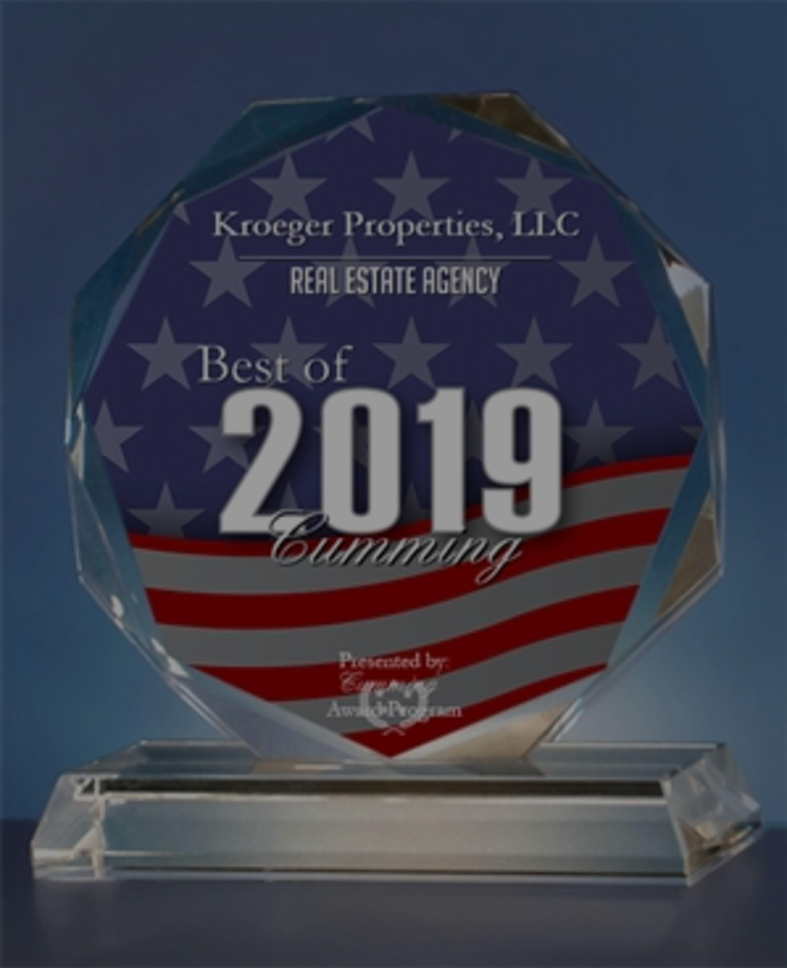 Kroeger Properties, LLC Receives 2019 Best of Cumming Award