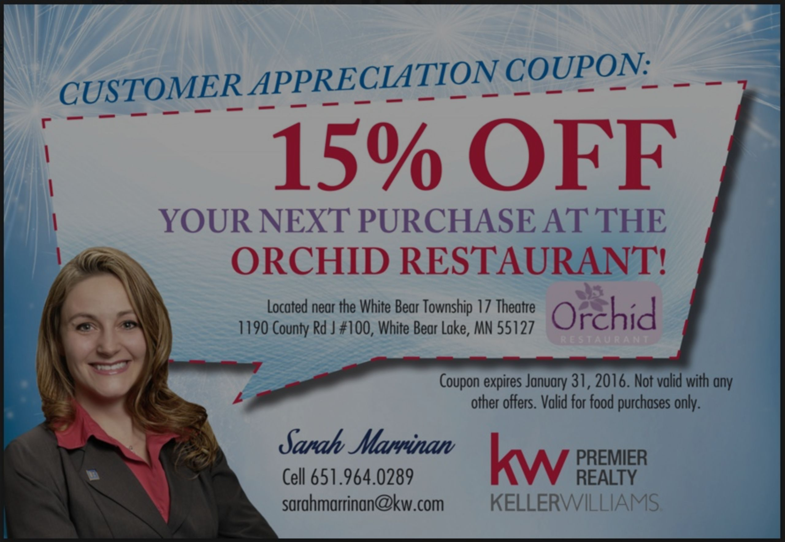 Discount Coupon For The Orchid Restaurant
