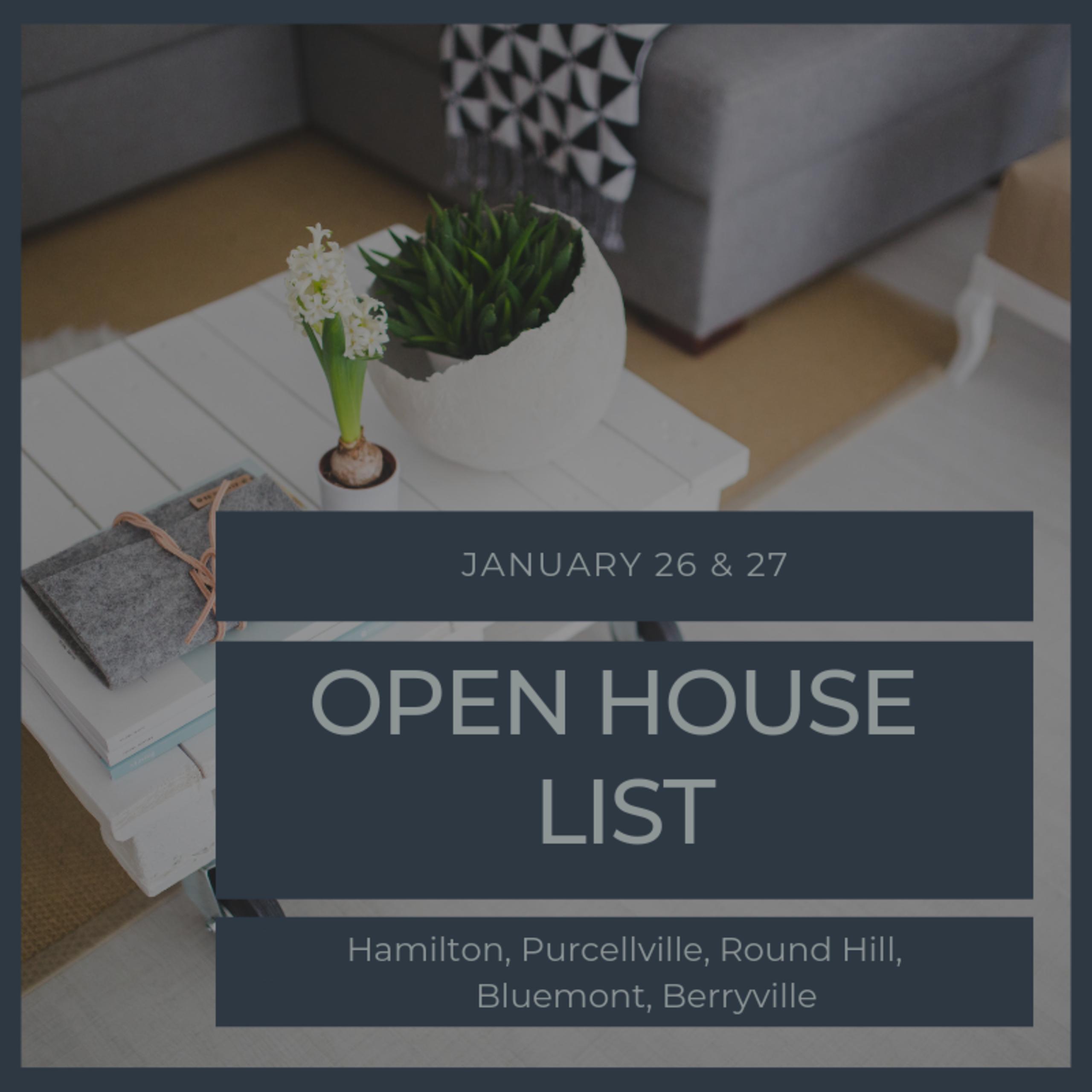 Open House List 1/26/19 – 1/27/19