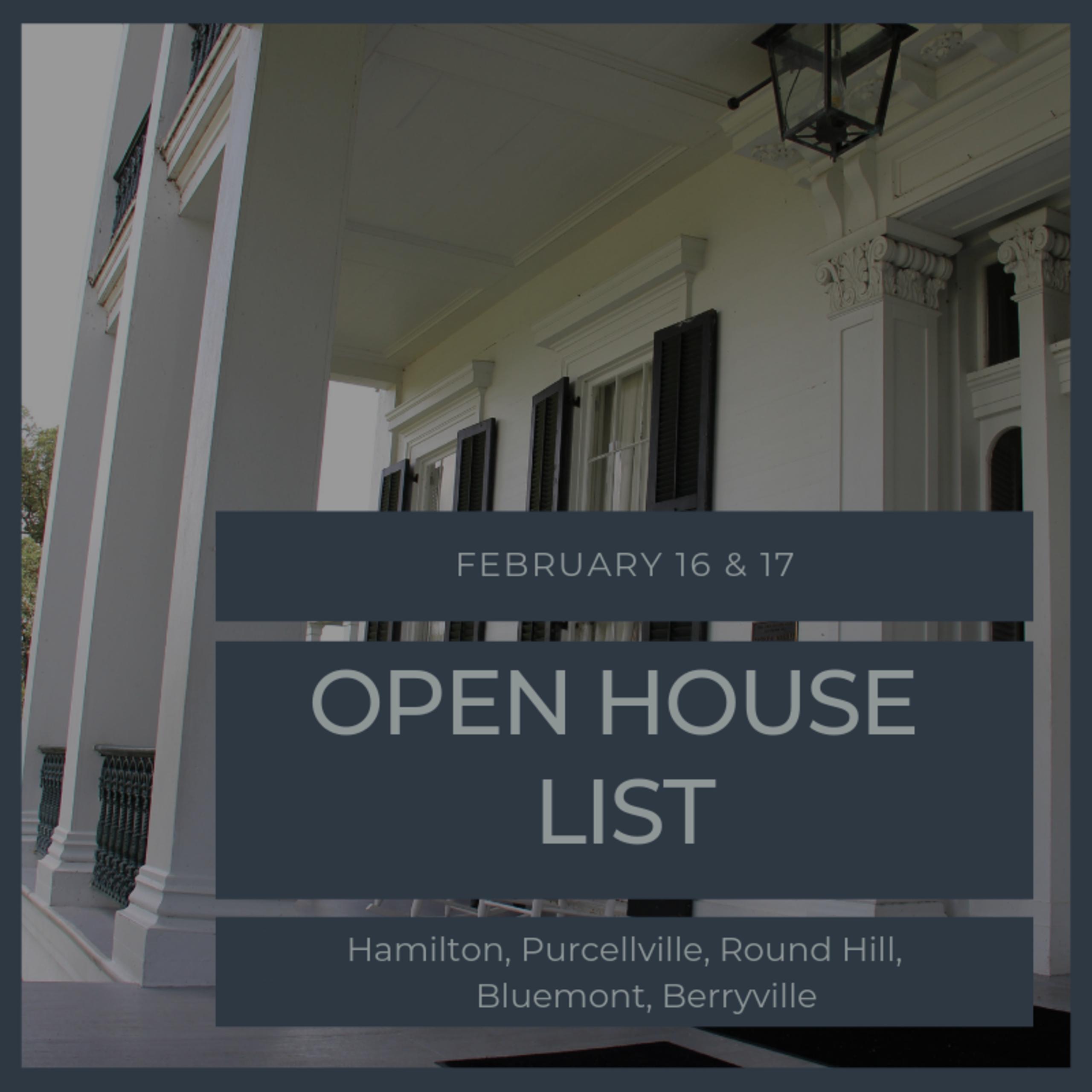 Open House List 2/16/19 – 2/17/19