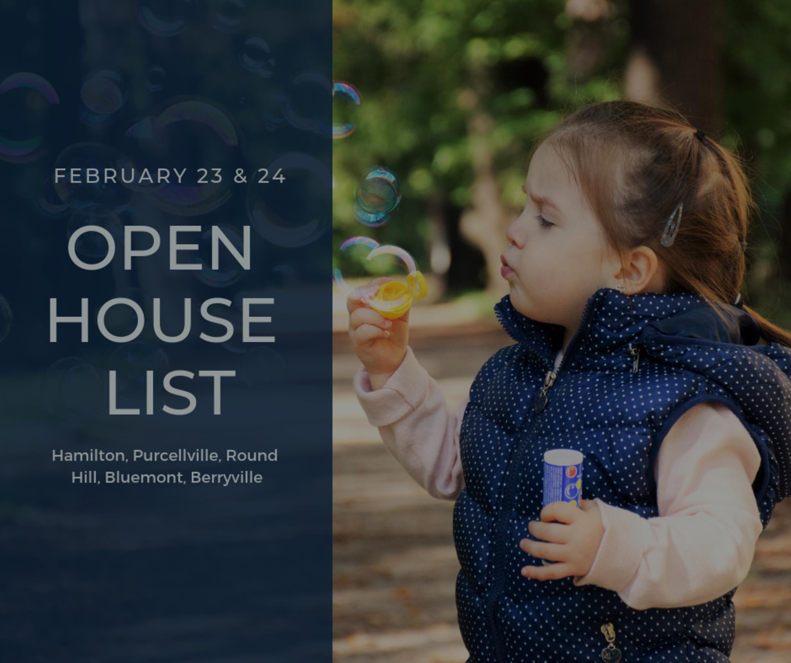 Open House List 2/23/19 – 2/24/19