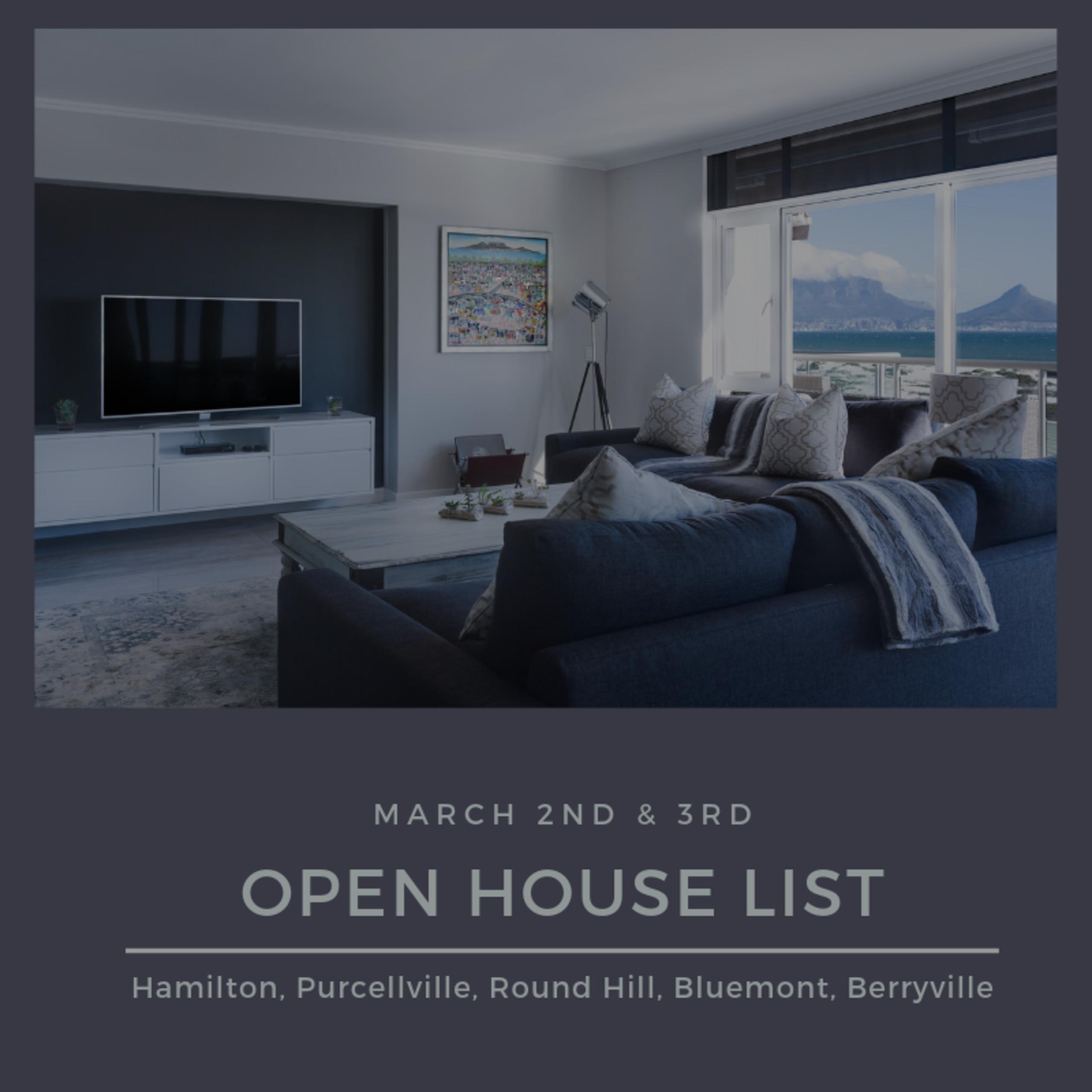 Open House List 3/2/19 – 3/3/19
