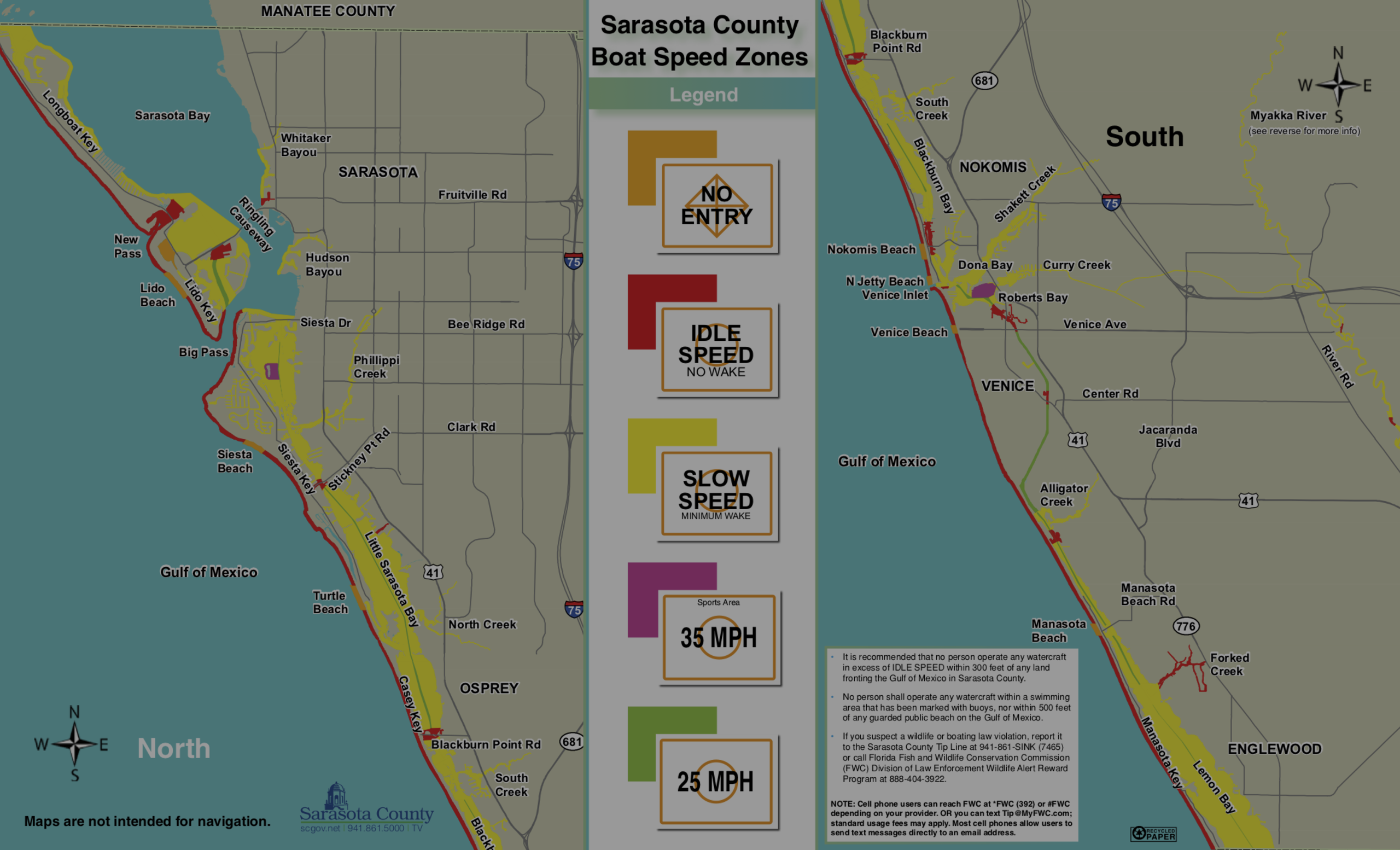 DOWNLOADABLE Map: Sarasota County Boat Speed Zones