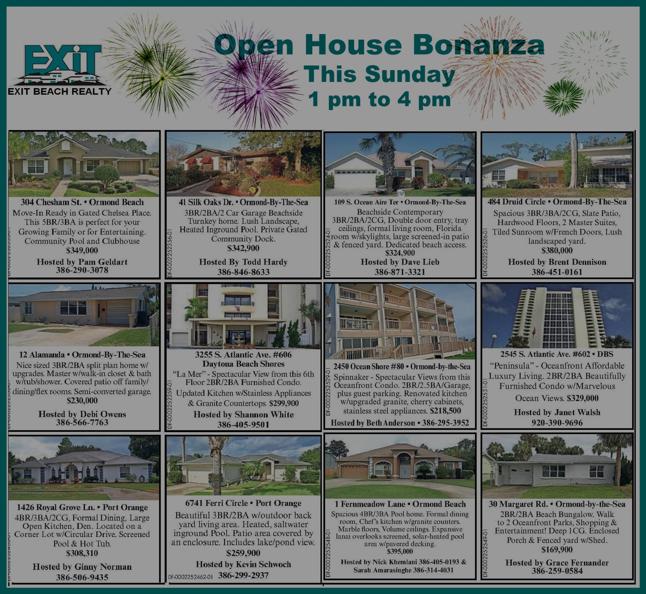 OPEN HOUSE BONANZA – Sunday 1 pm to 4 pm
