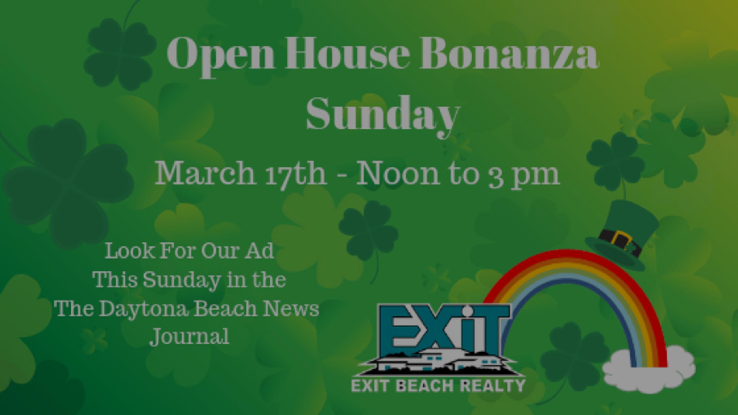 Open House Bonanza – This Sunday – Noon to Three