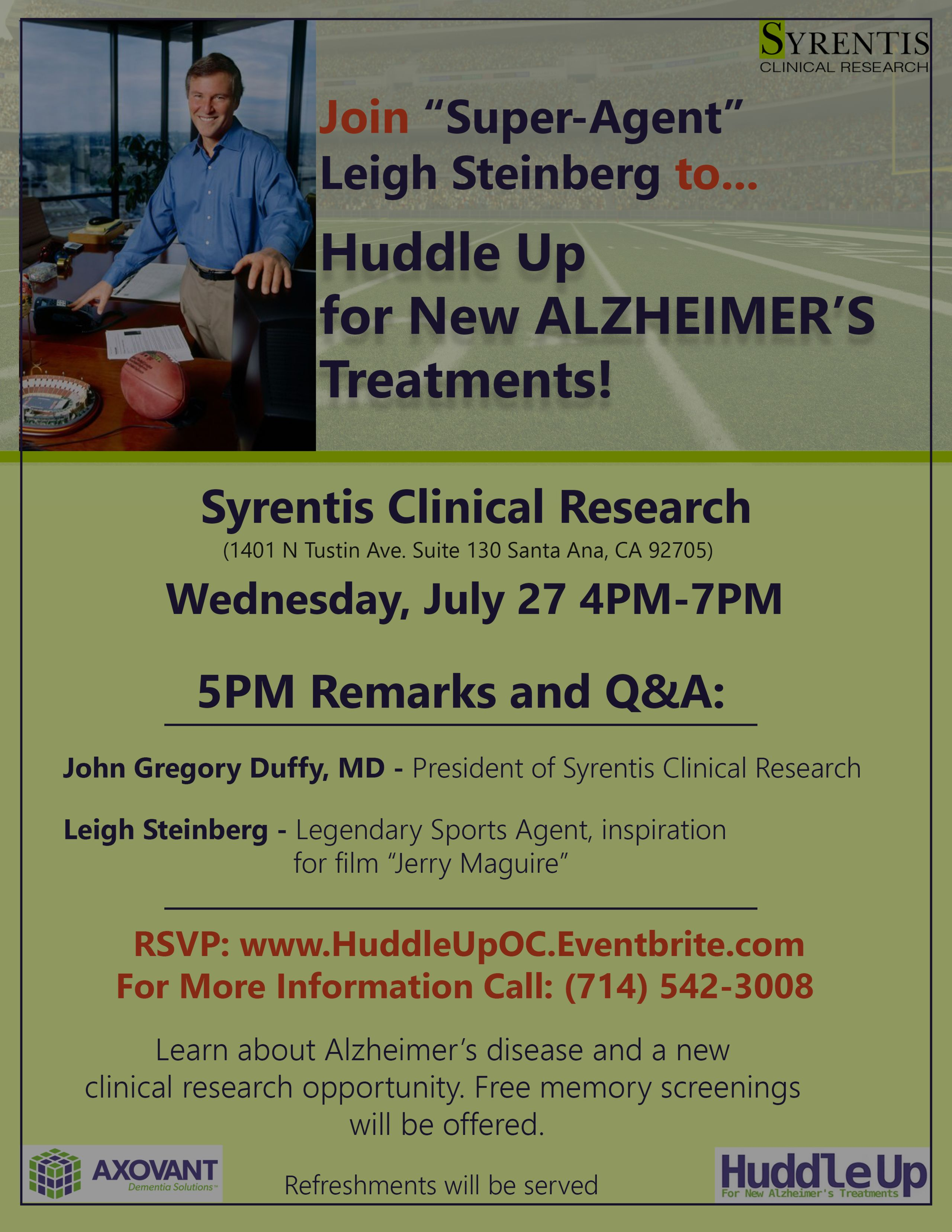 Huddle Up For New Alzheimer's Treatments with Leigh Steinberg Syrentis Research Axovant Sciences
