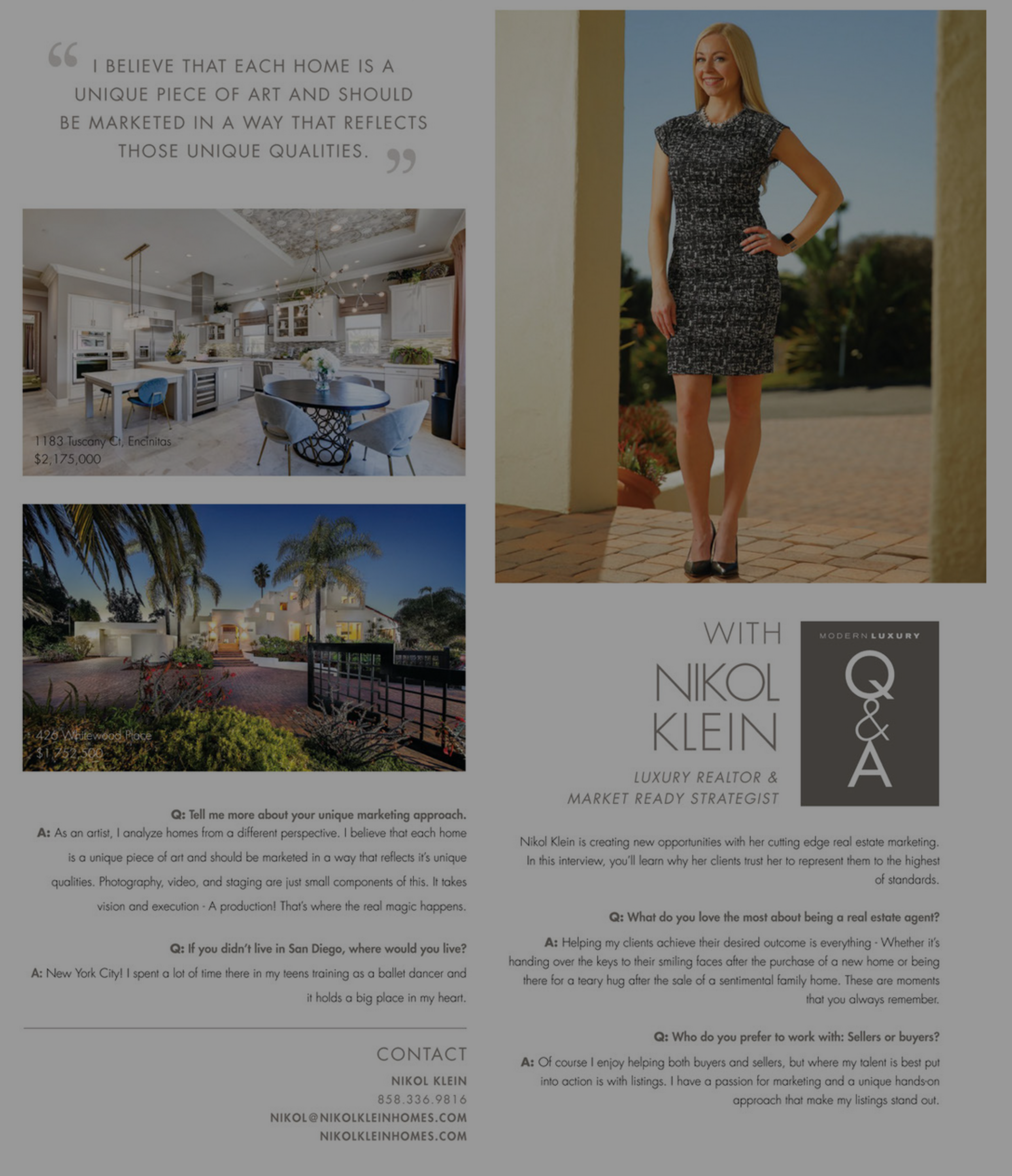 Nikol Klein Modern Luxury Interview