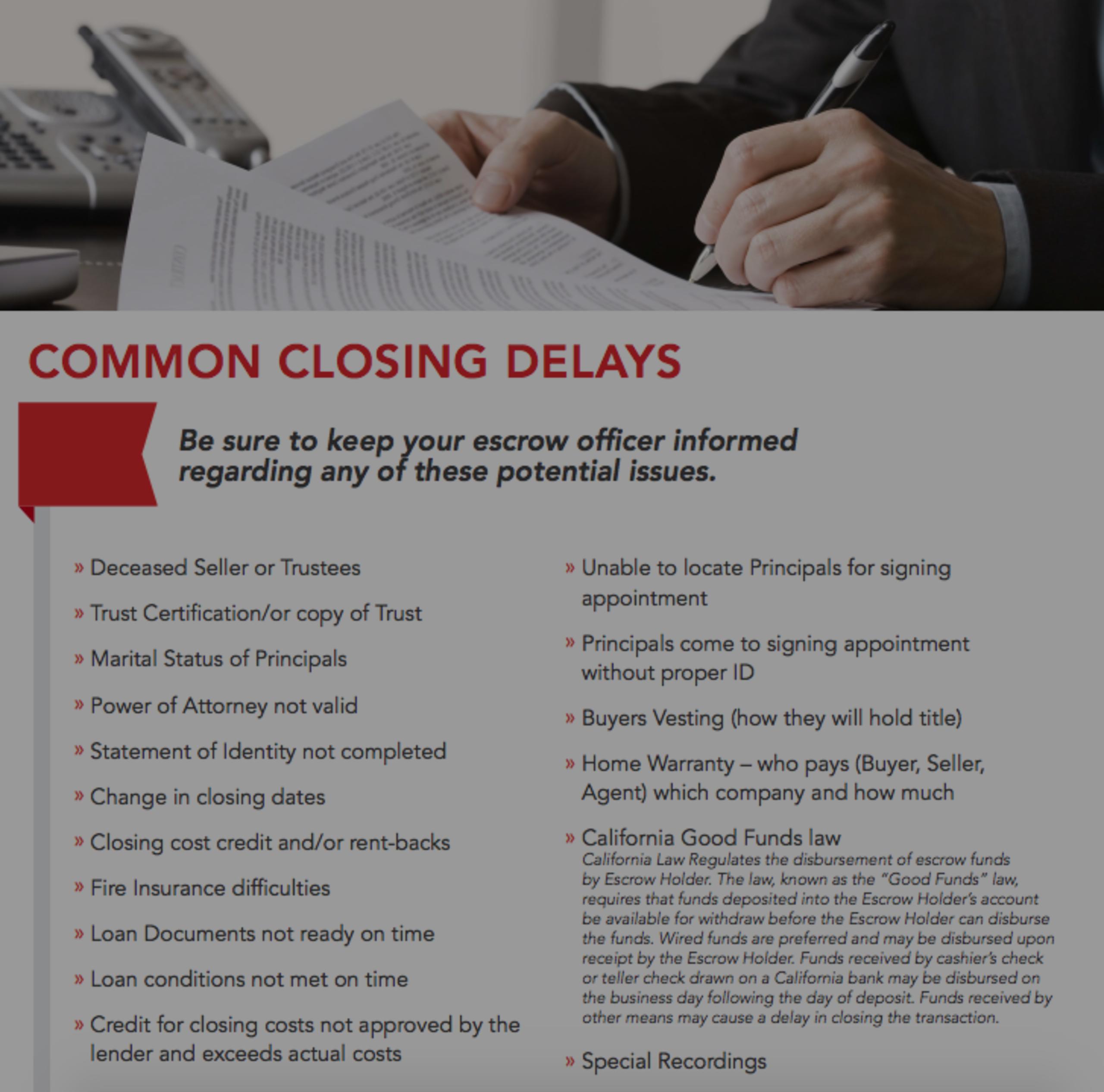 Common Closing Delays!