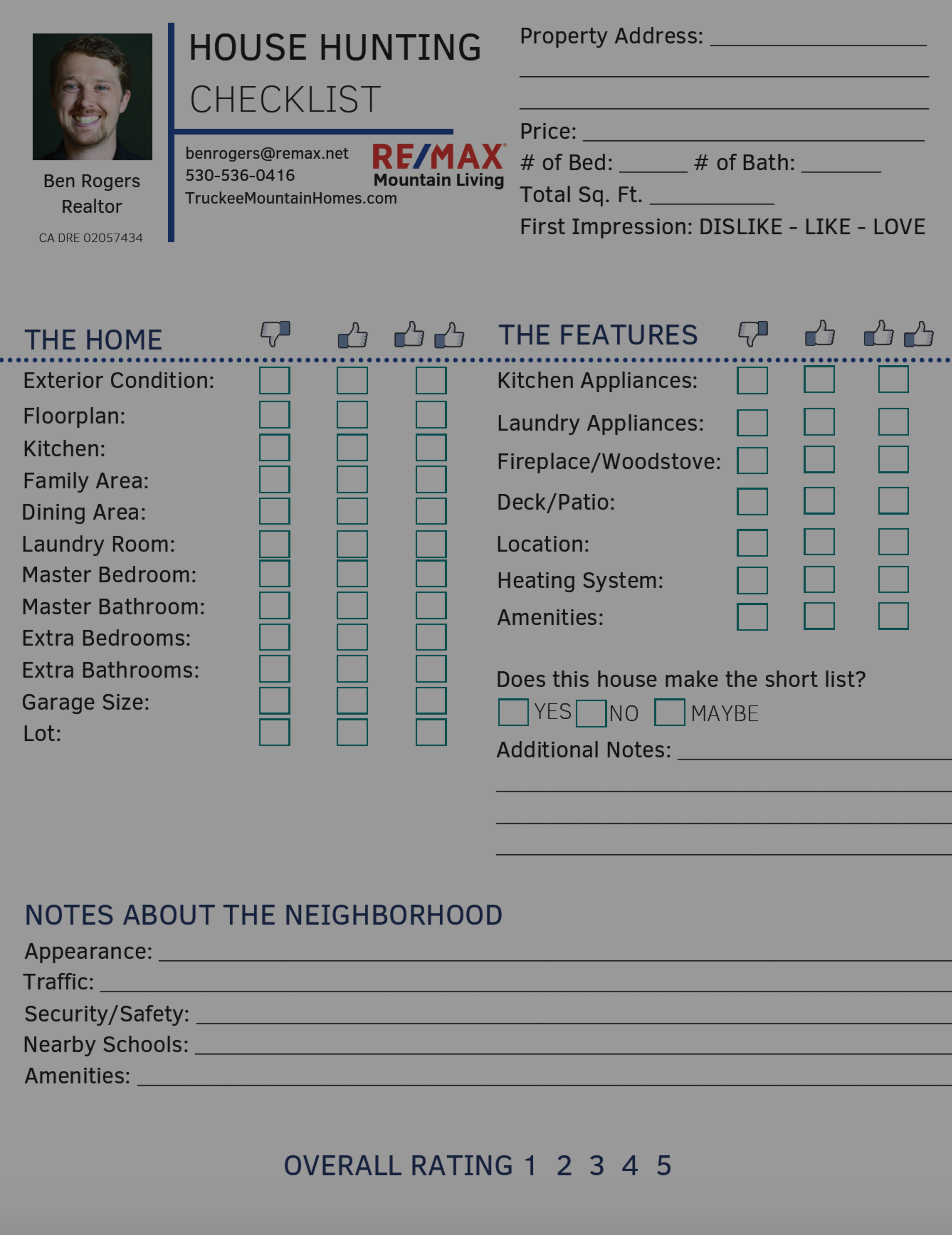 Home Buying Checklist – Helpful Form