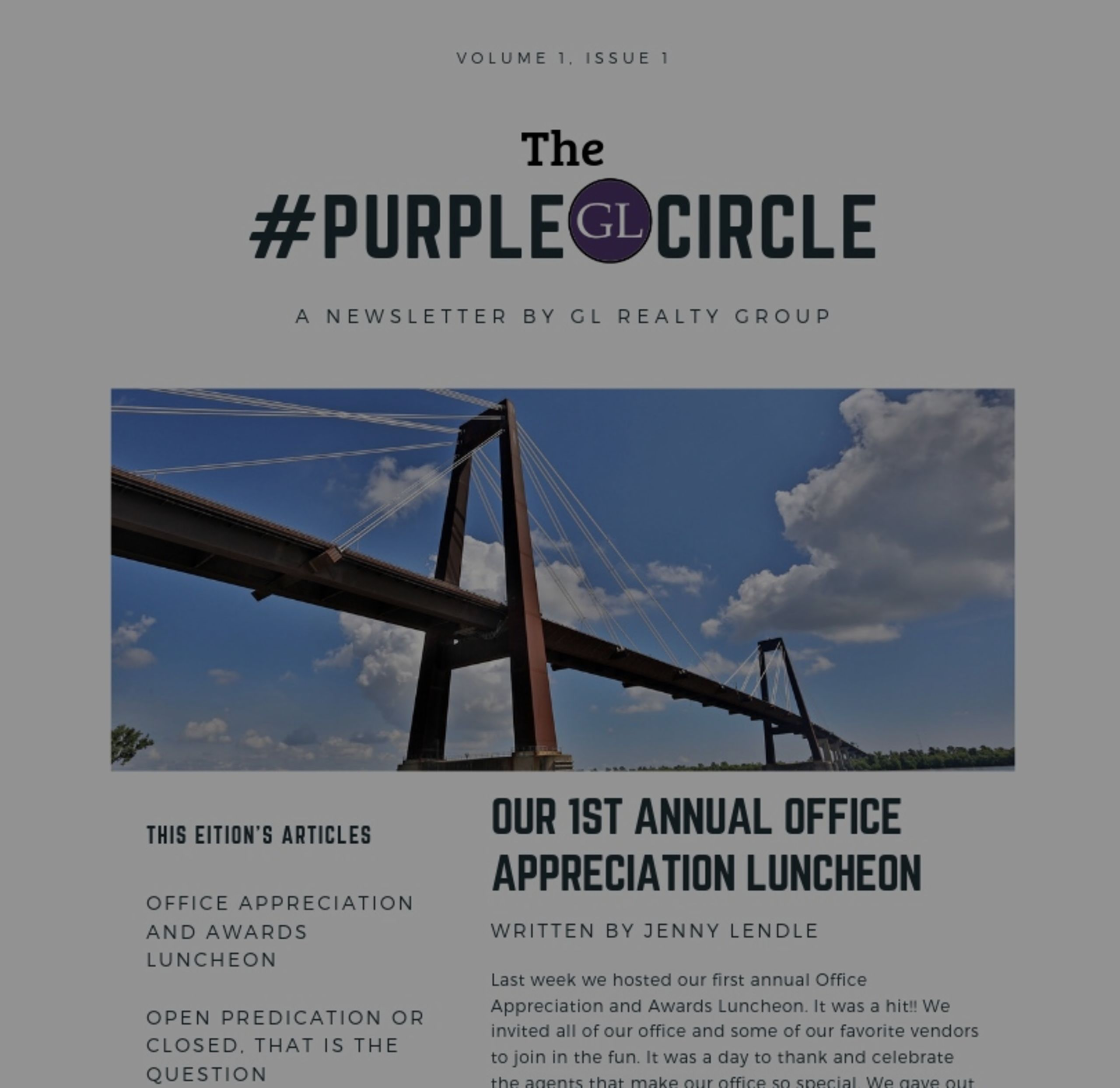 "New Name! New Look! ""The Purple Circle"" Newsletter"