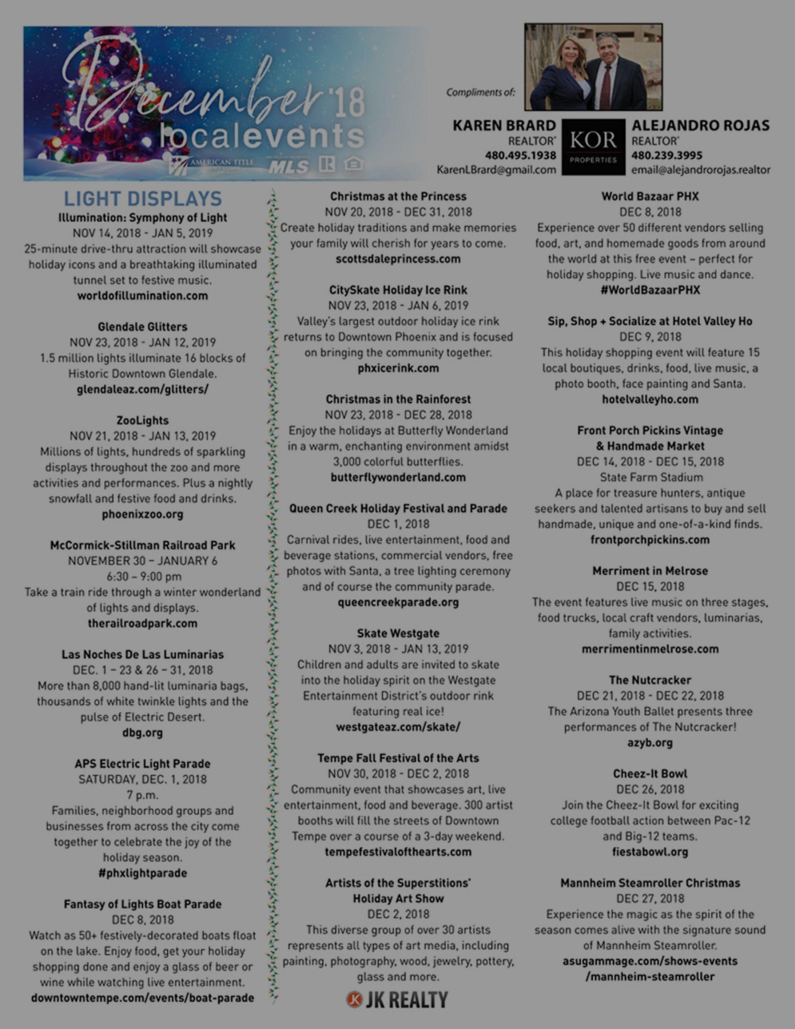 December 2018 Events Calendar