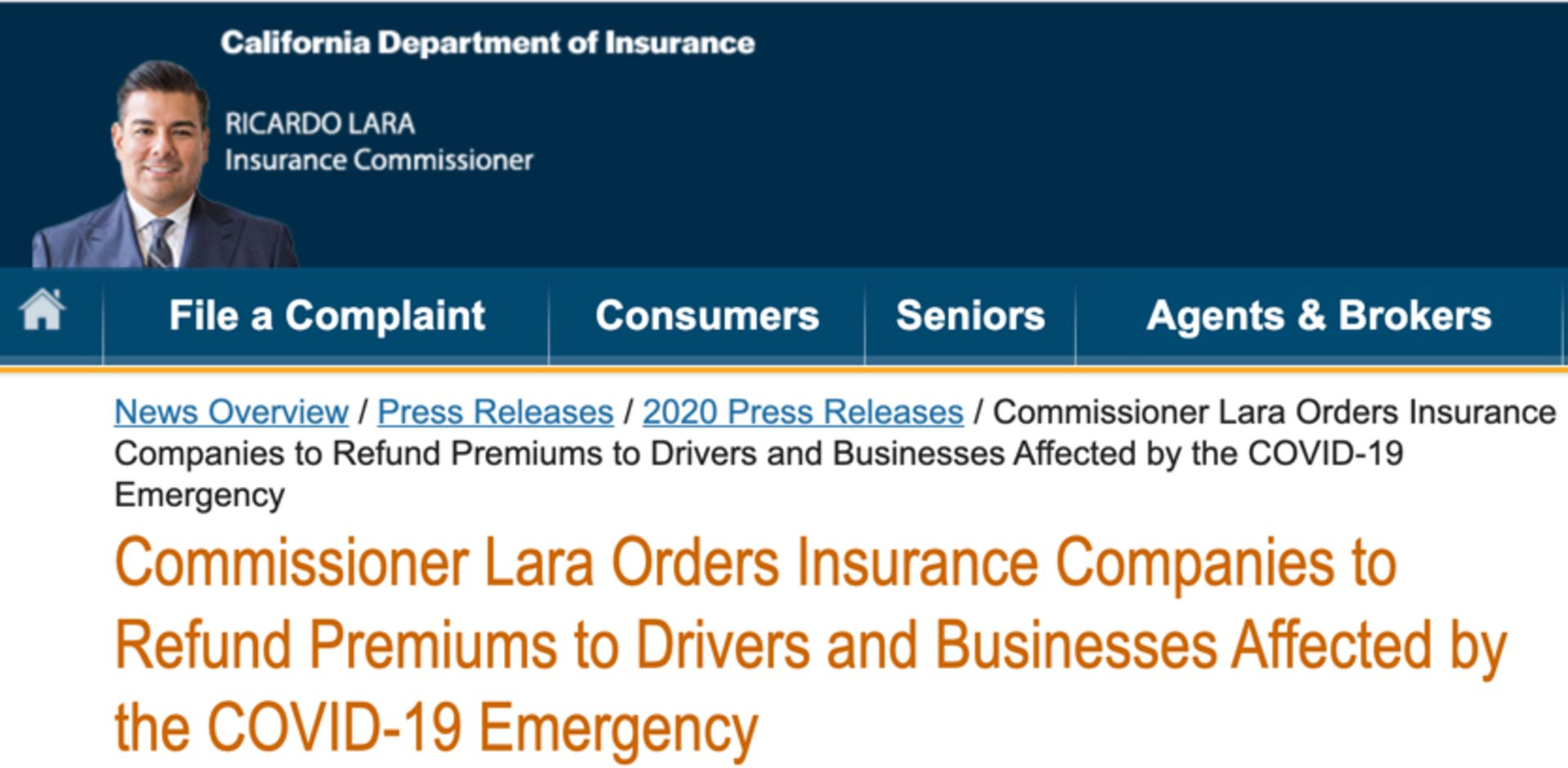 Insurance Companies in California ordered to reduce costs