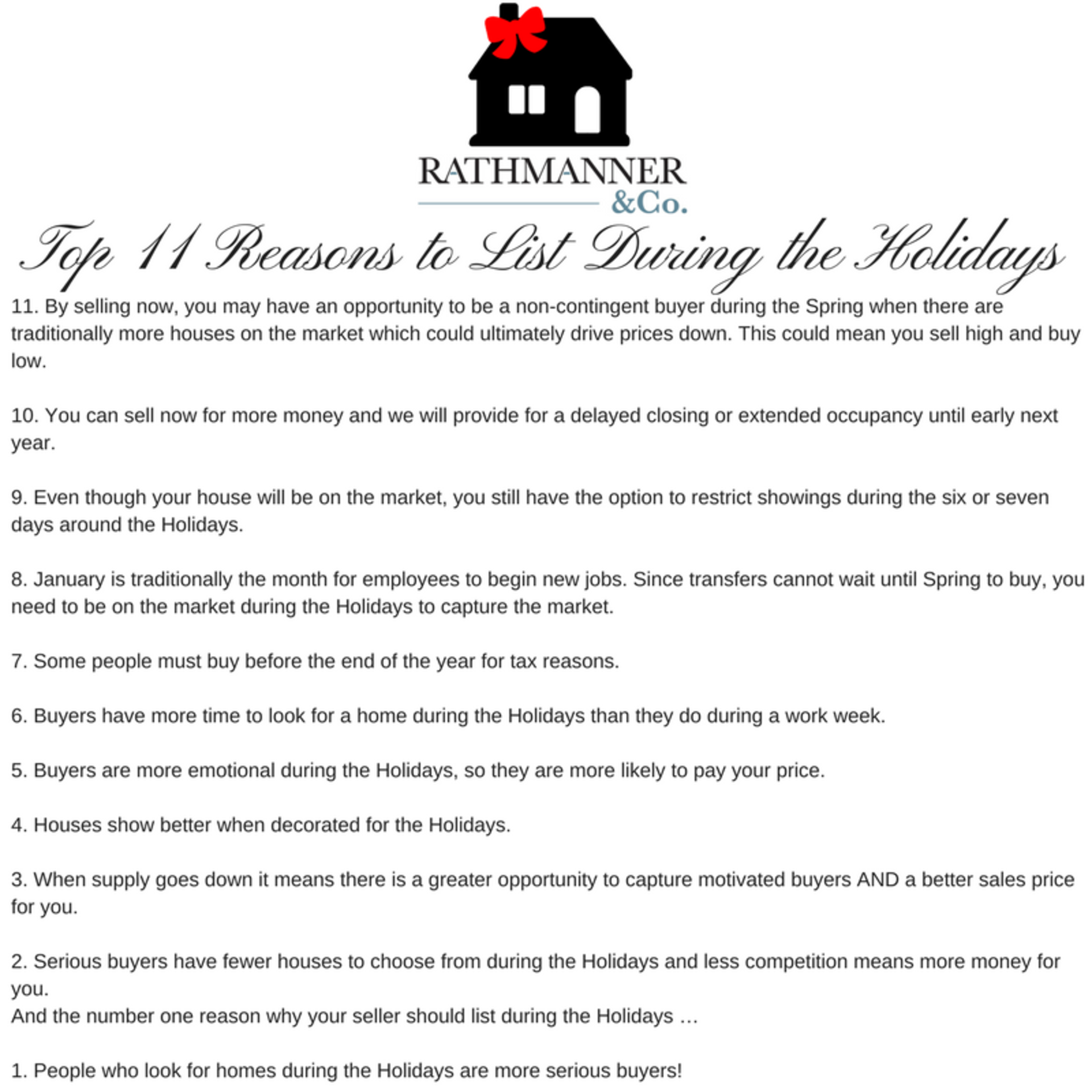 Top 11 Reasons to List Your Home During the Holidays!