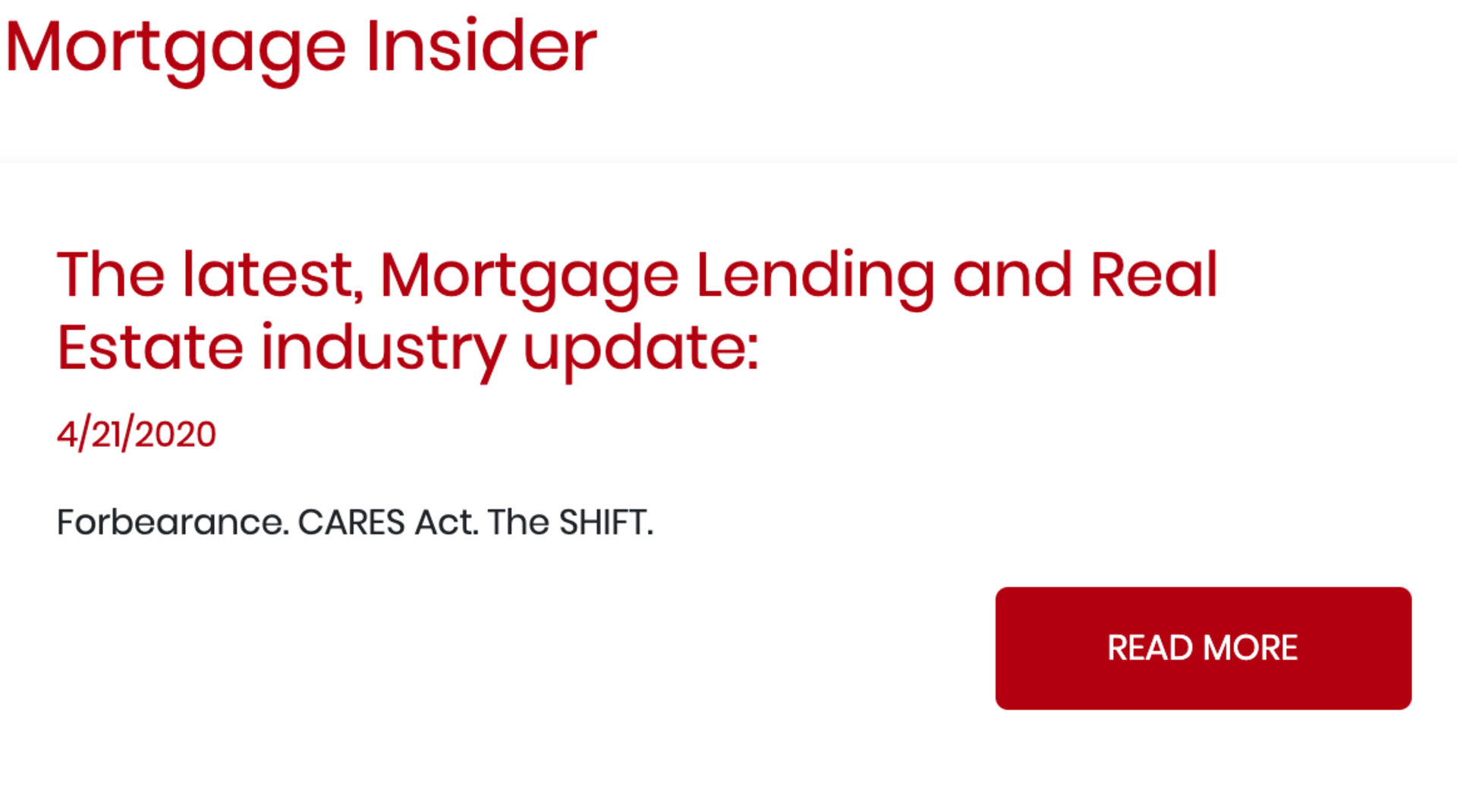 The Latest, Mortgage Lending and Real Estate Industry Update
