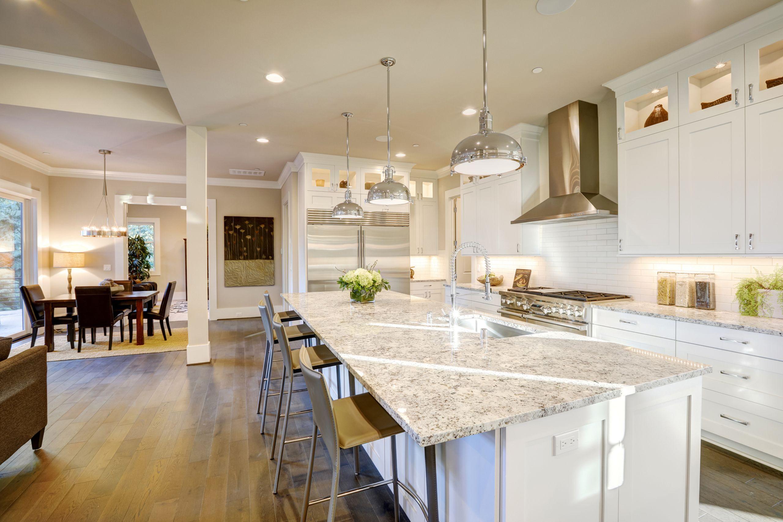 White Modern Open Floor Plan Kitchen