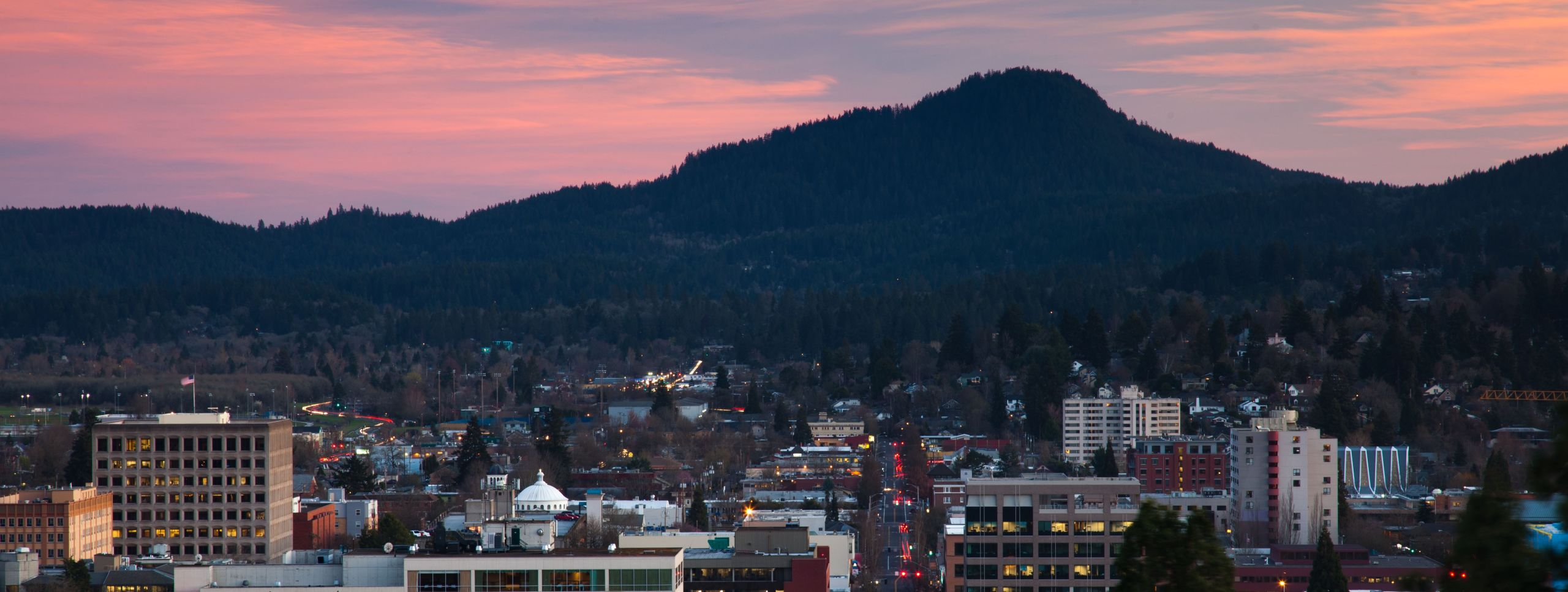 Downtown View of Eugene at dusk