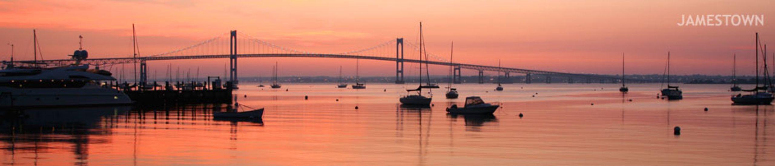 Newport Bridge at Sunset