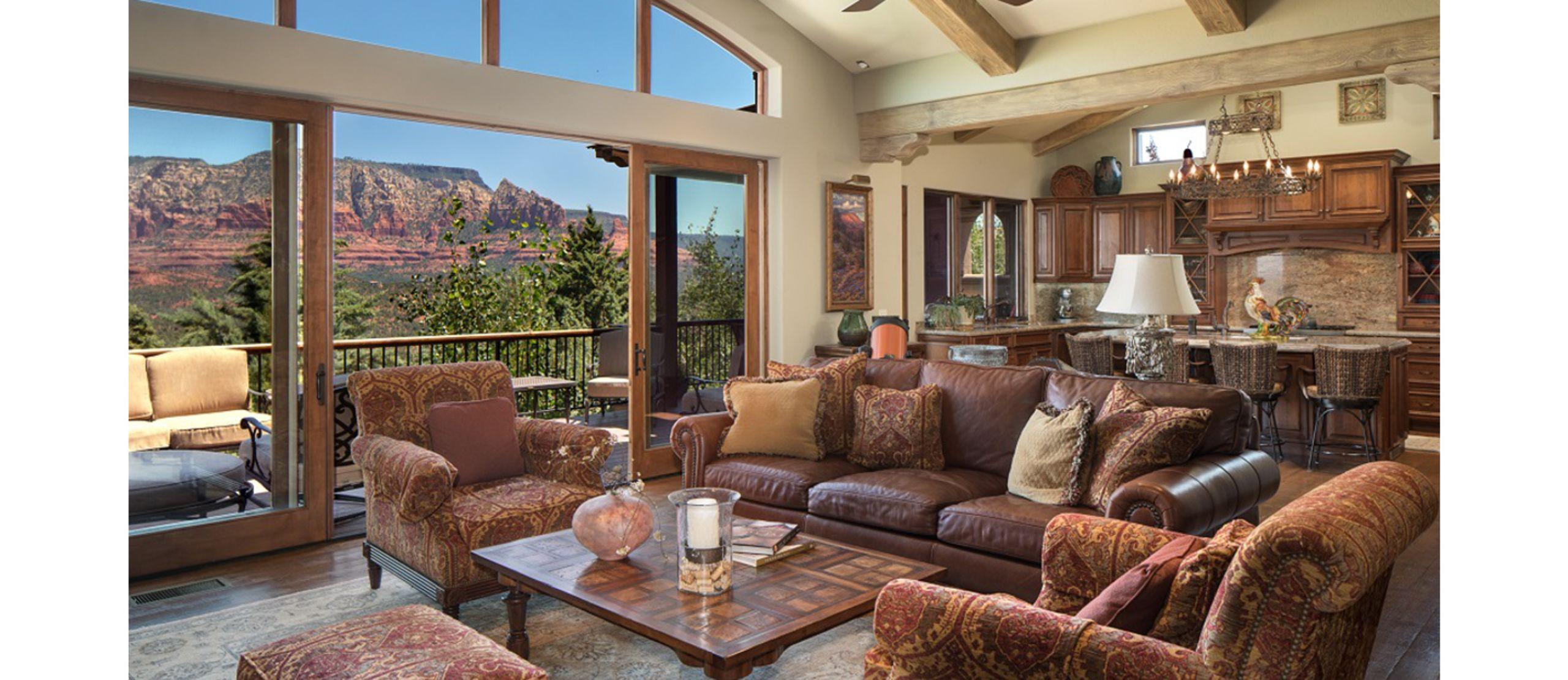 Great Room overlooks Panoramic Red Rock Views