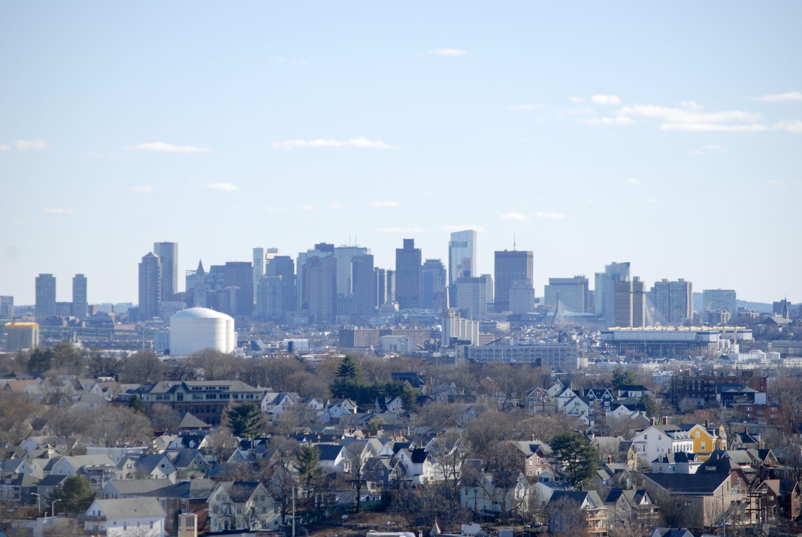 Boston skyline over Malden, MA