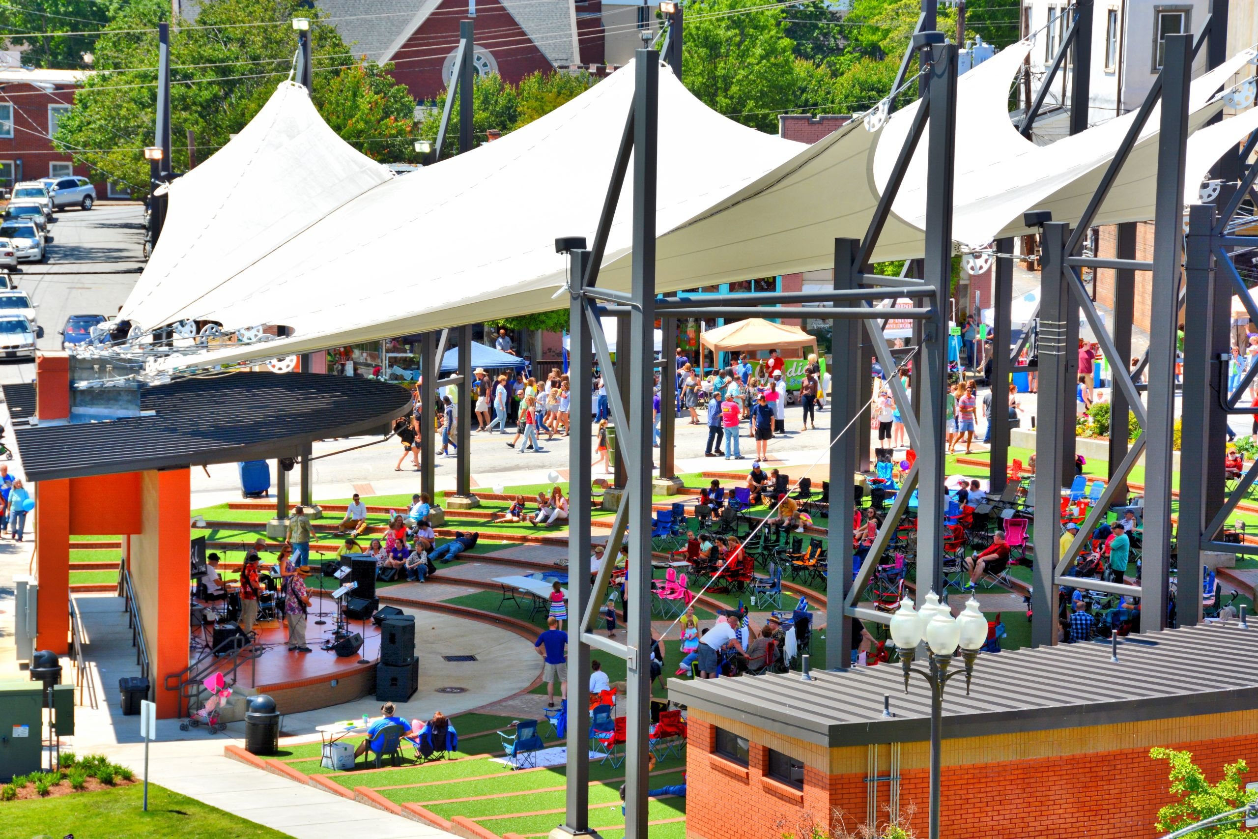 Enjoy an outdoor event at the AMP at Adamson Square