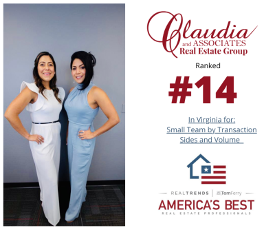 Claudia and Associate Real Estate Group has been ranked #14 in Virginia