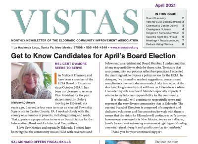 April Vistas Community Newsletter Now Available